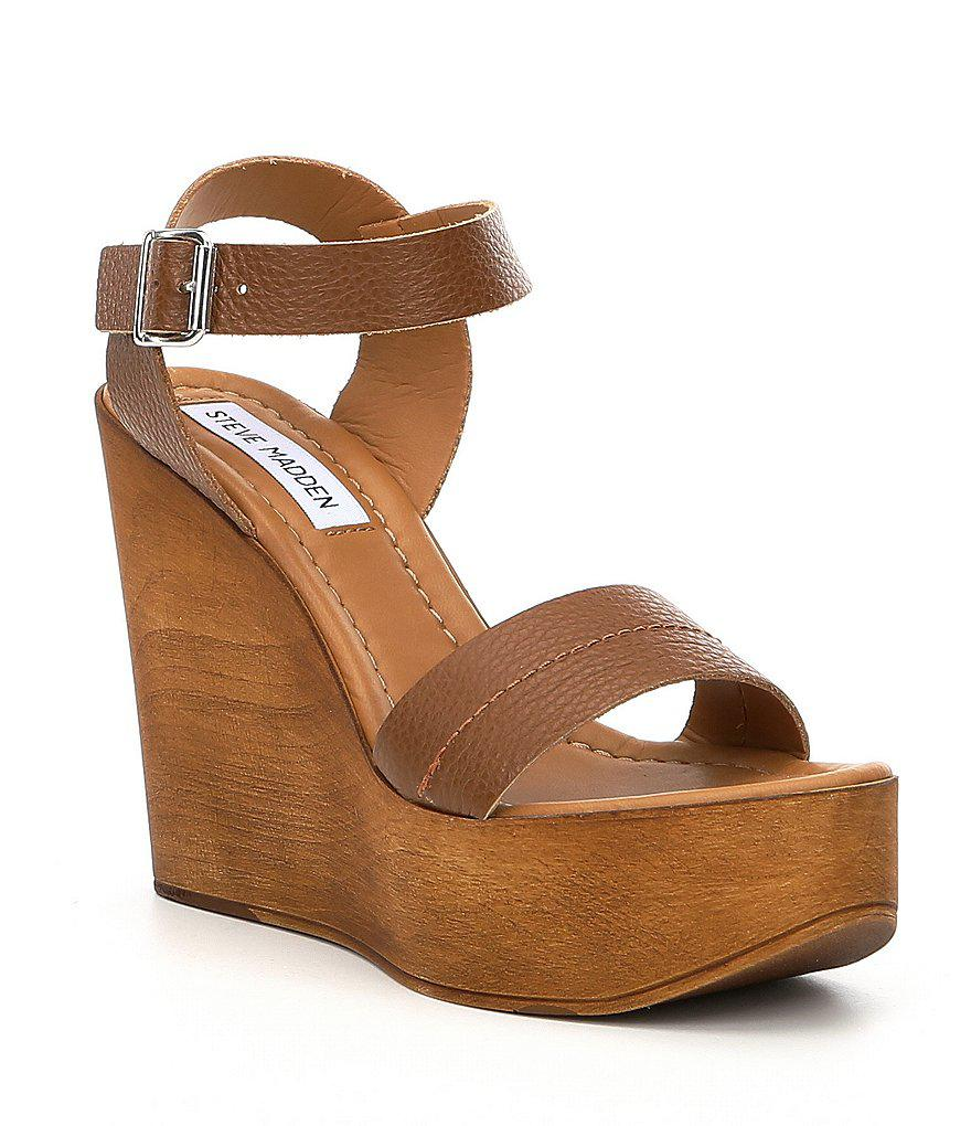 b6c1f0b3a49 Lyst steve madden belma leather wedge sandals in brown jpg 880x1020 Linen wedge  steve madden