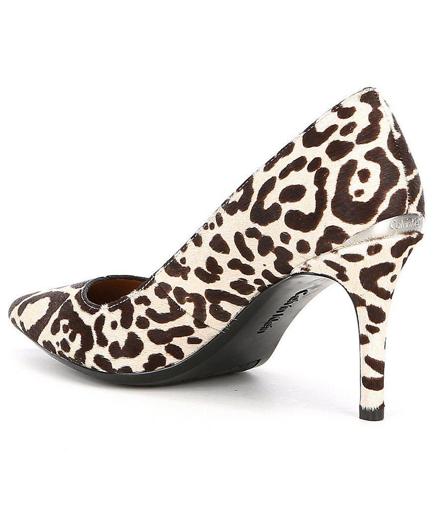 Calvin Klein Gayle Leopard Calf Hair Pumps QjaRF