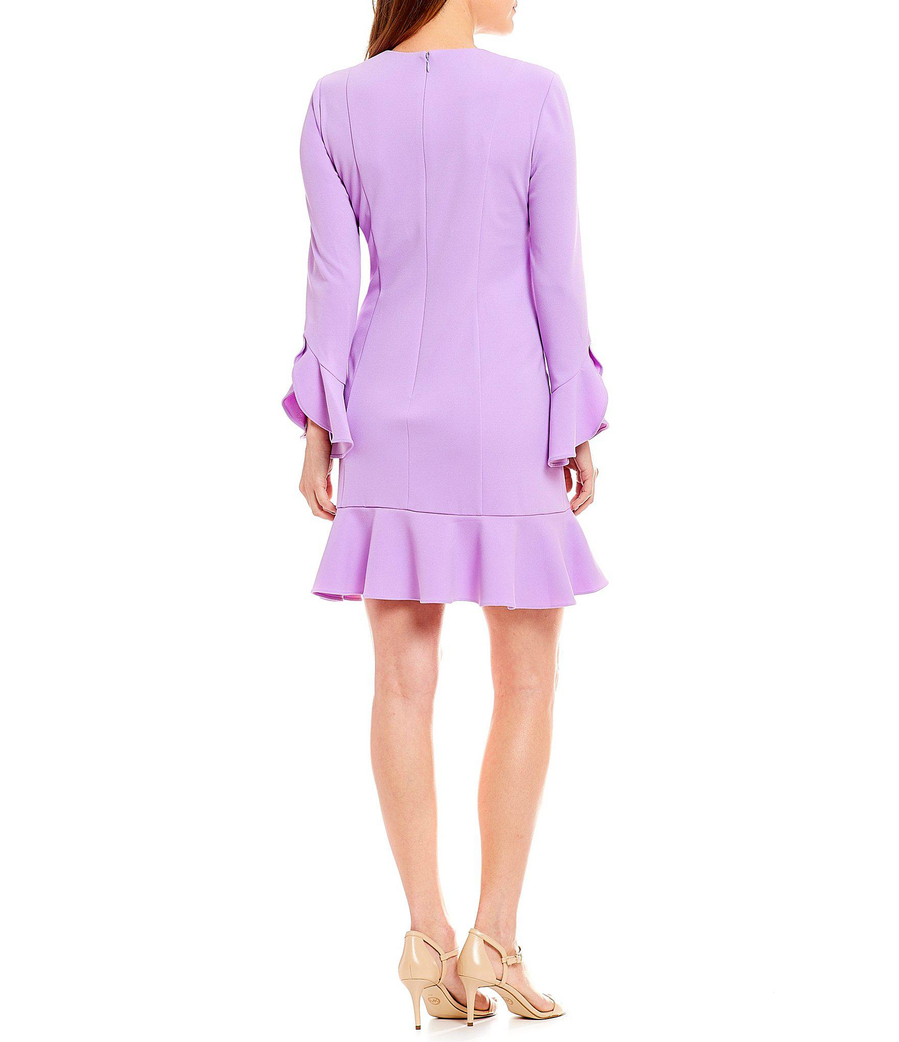 826acc4cecb Lyst - Donna Morgan V Neck Crepe Bell Sleeve Flounce Hem Dress in Purple