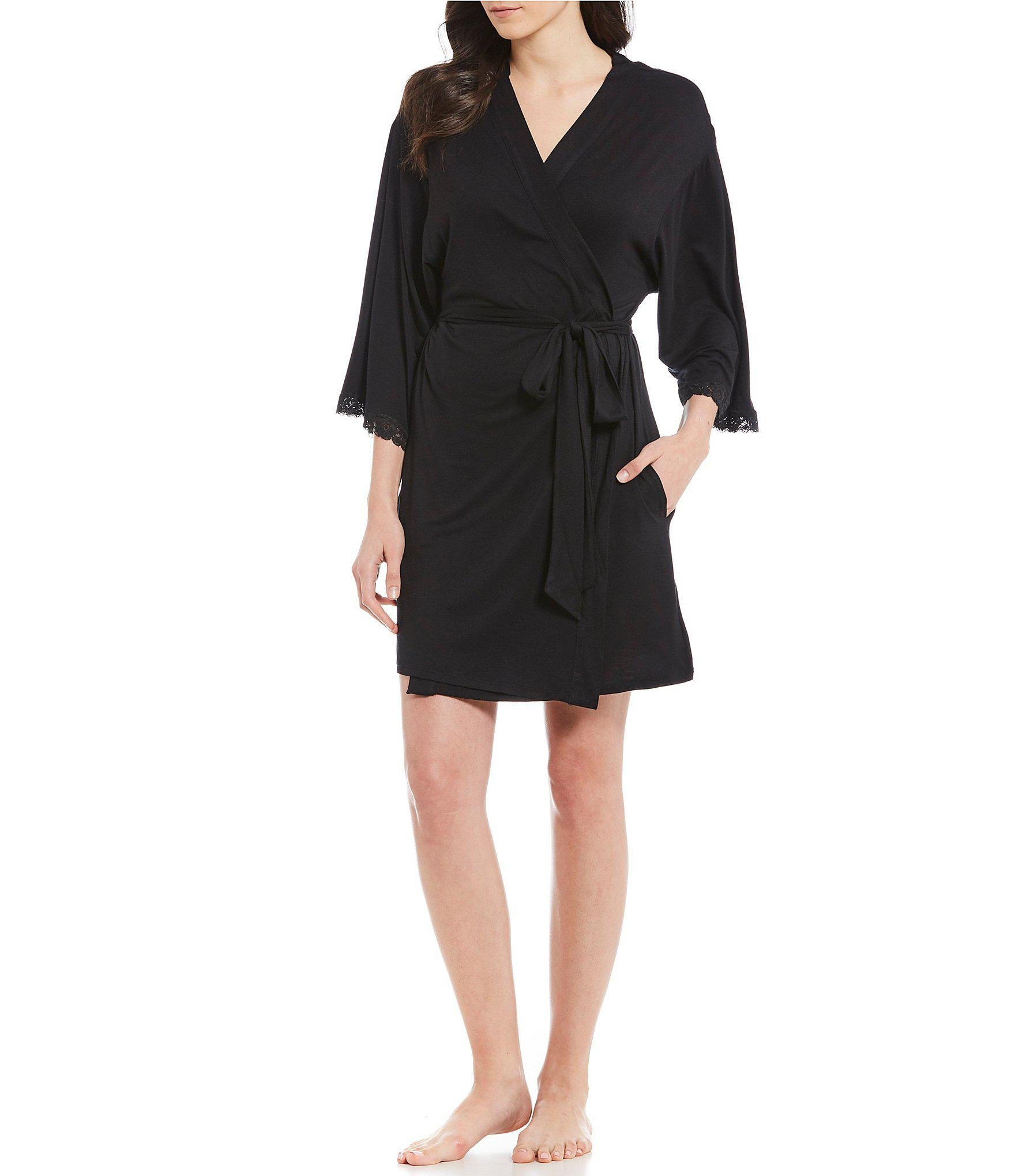 83fca50952 Lyst - Betsey Johnson Solid Woven Short Wrap Robe in Black