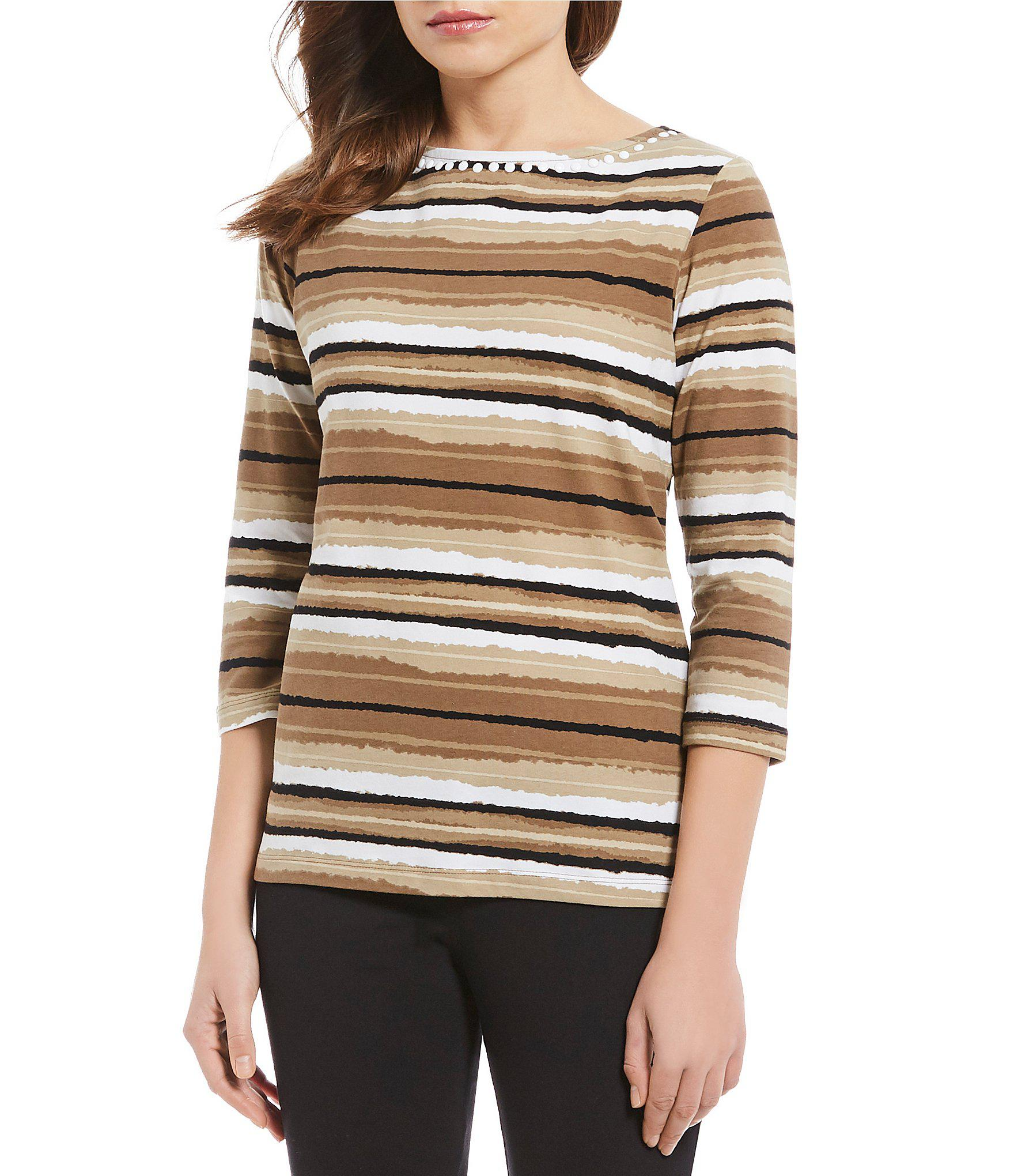 7192d042211 Lyst - Ruby Rd. Petite Size Embellished Boat Neck Painterly Stripe ...