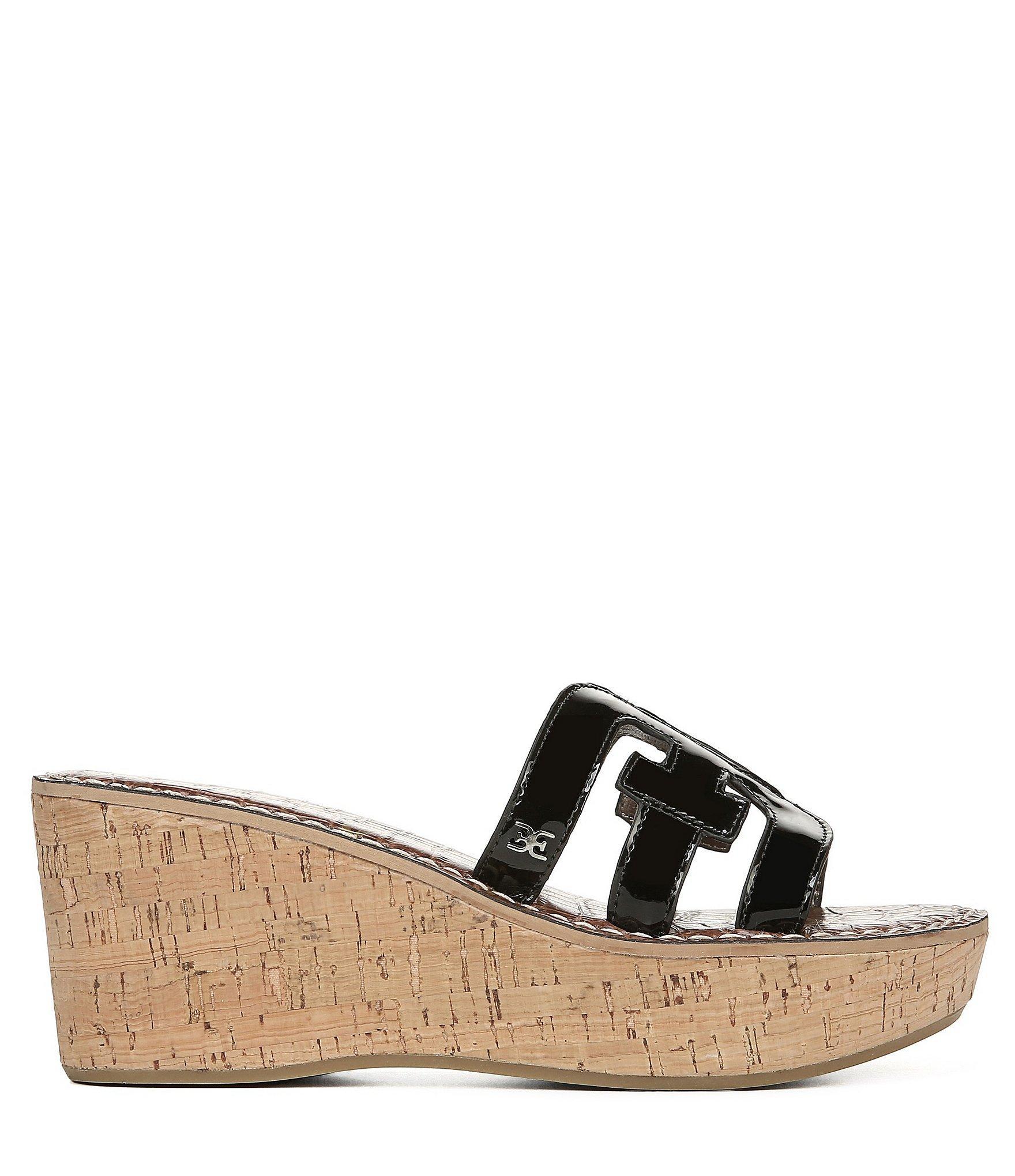 ba2fc99dda3d26 Lyst - Sam Edelman Regis Patent Cork Wedge Sandals in Black - Save 1%