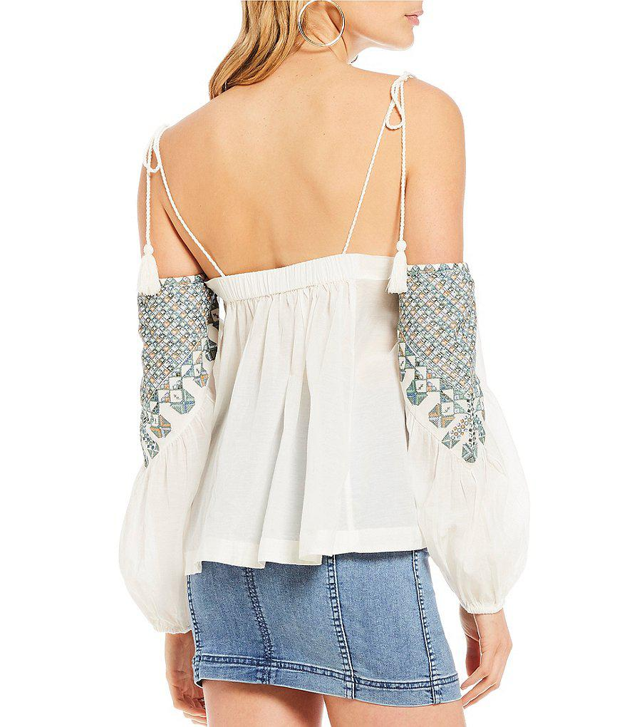 aec326f6d3d974 Lyst - Free People Vacay Vibin Woven Embroidered Cold Shoulder Top