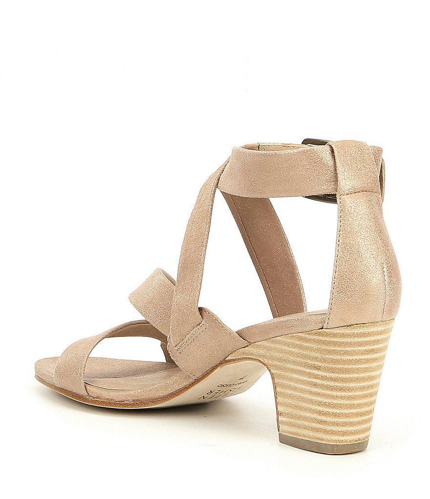 Patsy Metallic Suede Block Heel Dress Sandals zDm98q