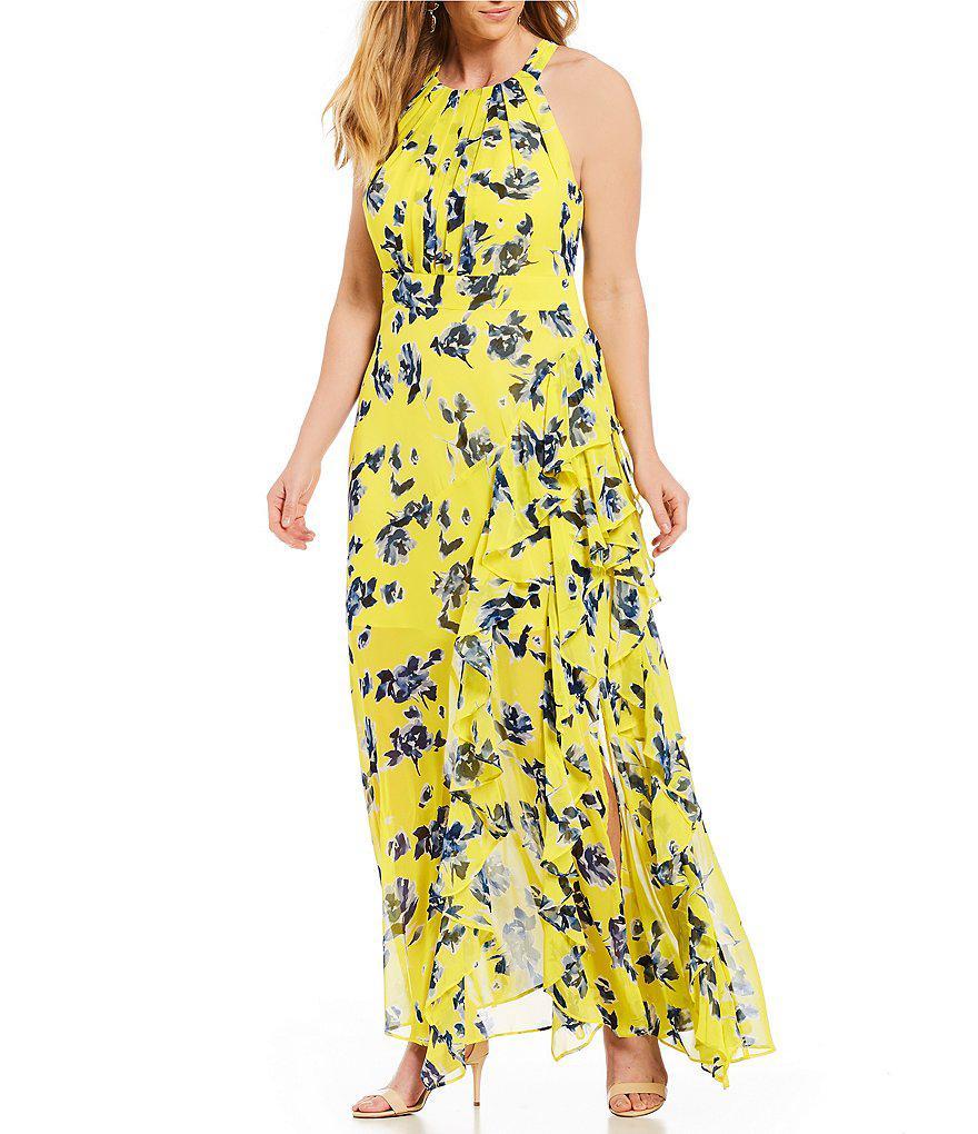 Eliza J Plus Size Floral Print Halter Maxi Dress in Yellow - Lyst