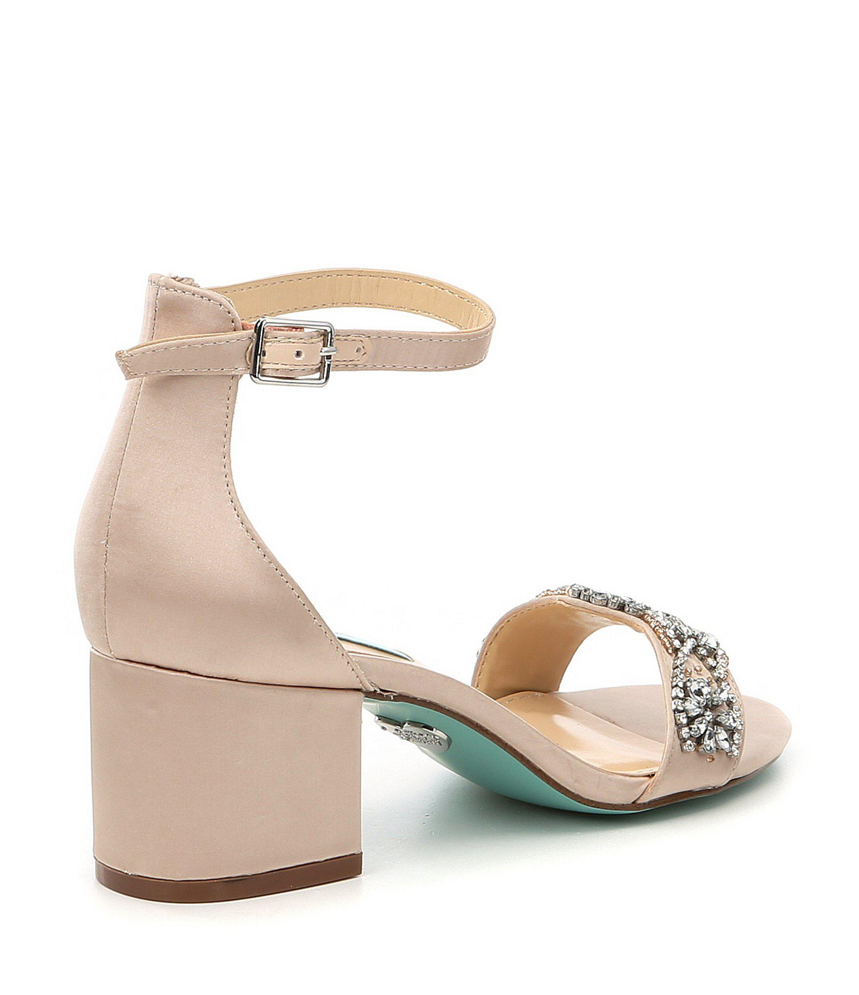acc04a366710d Betsey Johnson - Multicolor Blue By Mel Bejeweled Satin Block Heel Dress  Sandals - Lyst. View fullscreen