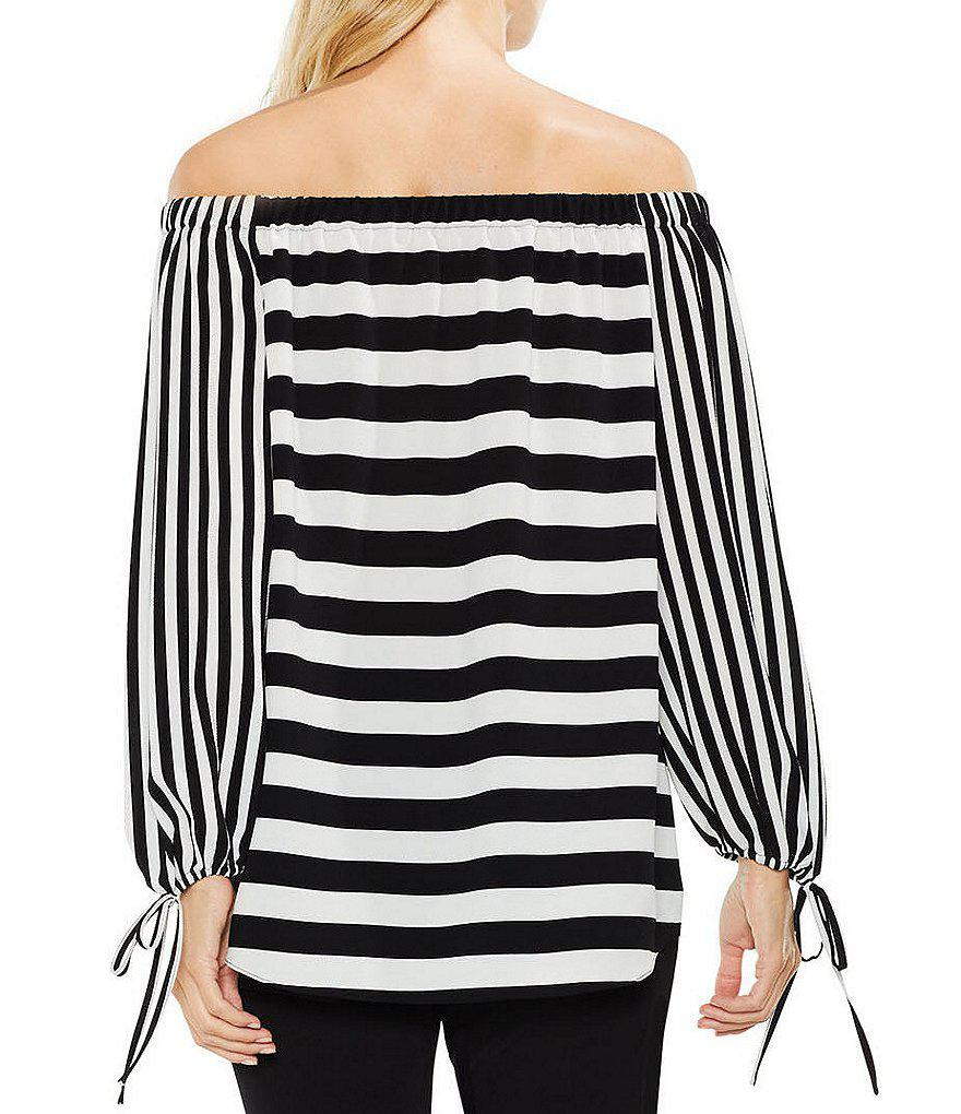91d779d648cb5 Lyst - Vince Camuto Off-the-shoulder Even Striped Blouse in Black