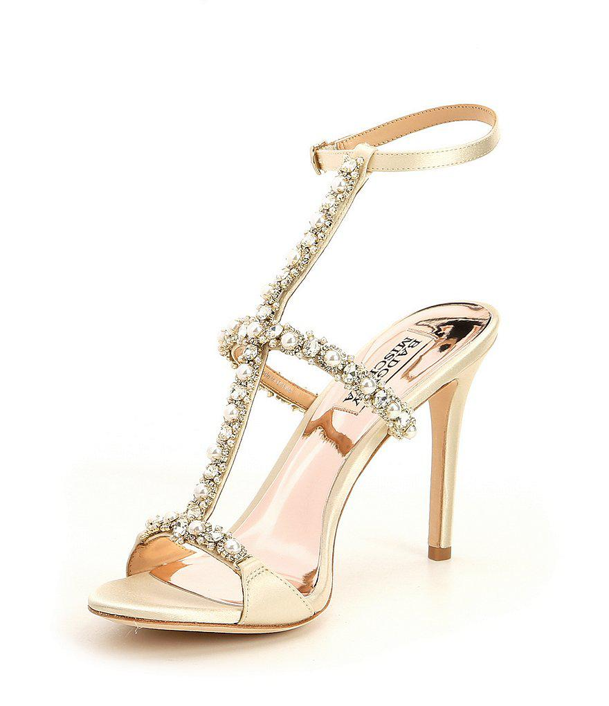 Badgley Mischka Yuliana Metallic Satin Jeweled Strappy Dress Sandals wXNzX2IDs