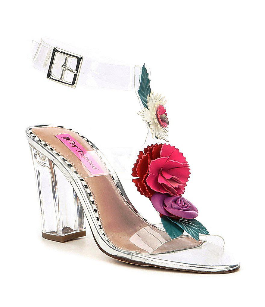 7b0933a12f6 Betsey Johnson Multicolor Abigail Transparent Flower Ornament Ankle Strap  Block Heel Dress Sandals