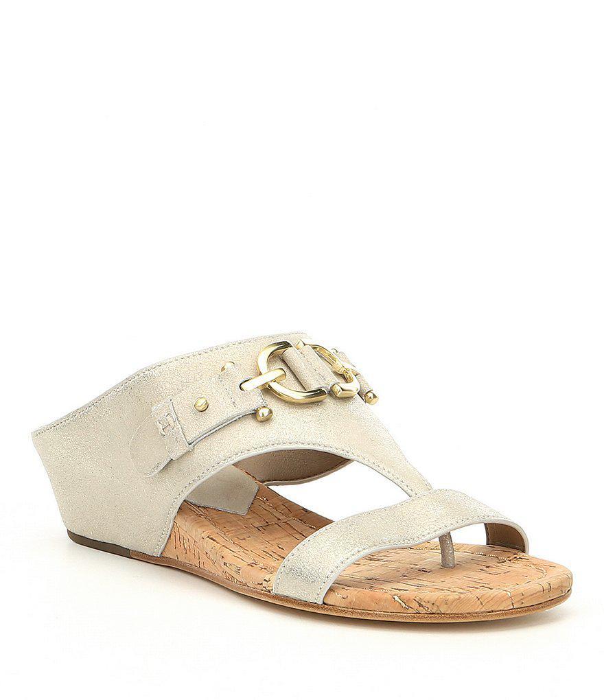 Geea Leather Cork Metallic Wedge Sandals DnTnfra0jN
