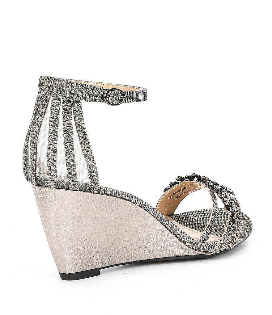 Mariabella Glitter Mesh Metallic Rhinestone Ornament Ankle Strap Dress Wedges CbJfE