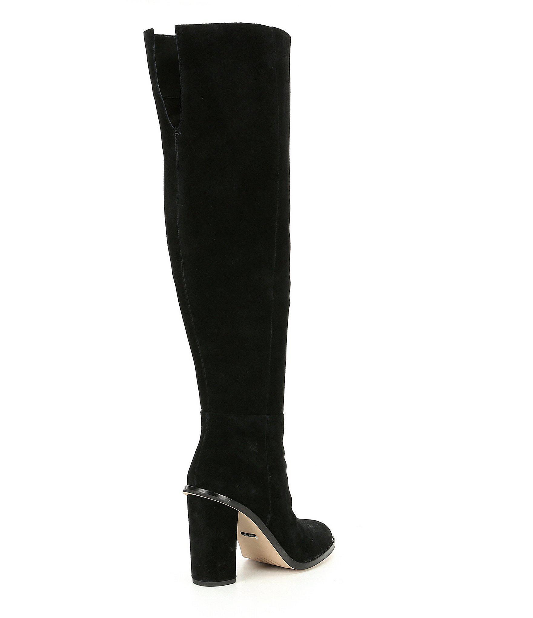 2d84eb66e4d Gianni Bini. Women s Black Barrine Suede Wide Calf Over The Knee Block Heel  Boots
