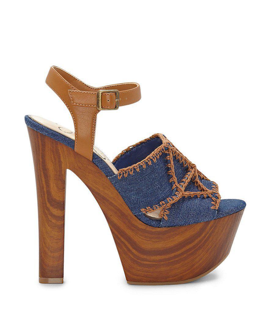 Dezzie Denim Platform Sandals QbR53ry