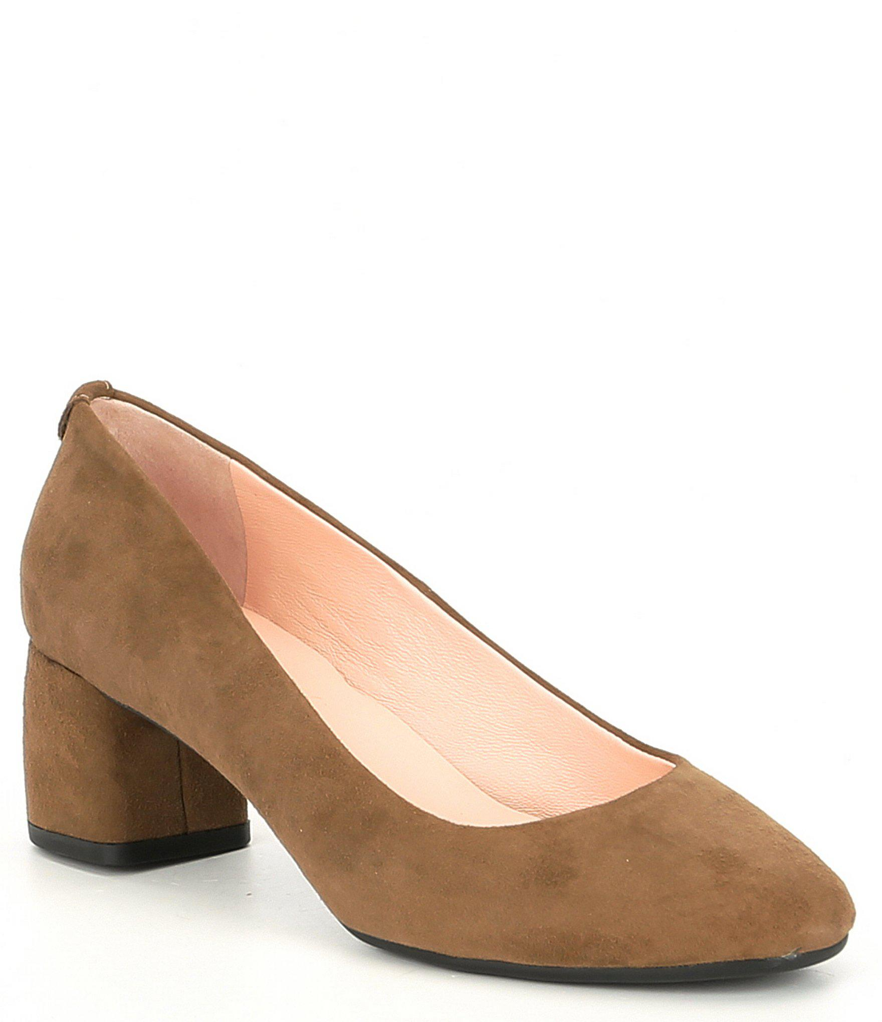 e9a30f443fba Lyst - Kate Spade Beverly Suede Block Heel Pumps in Brown