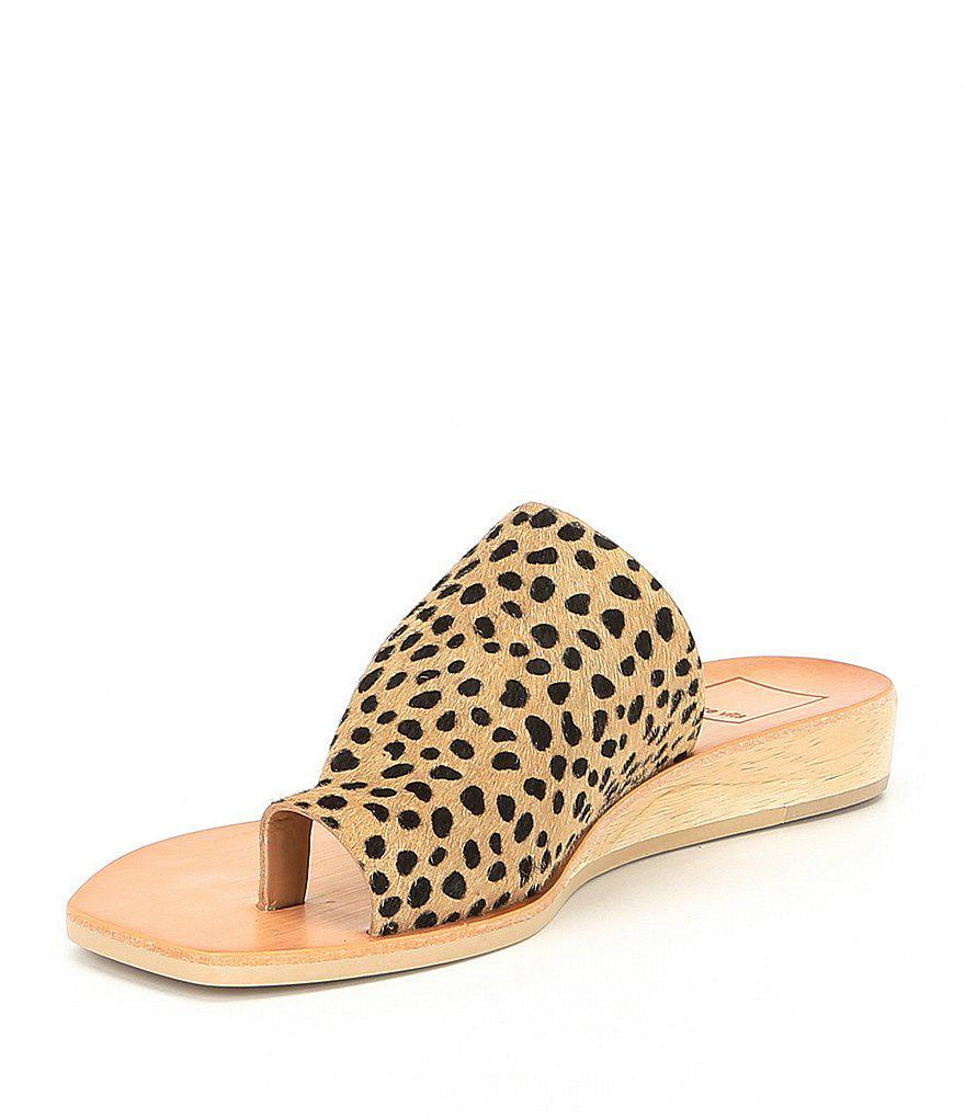 Hazle Demi Leopard Print Calf Hair Wedge Sandals wm7ssz