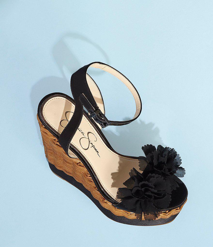 Pressa Chiffon Flower Detail Wedge Sandals 5kGmOHvS