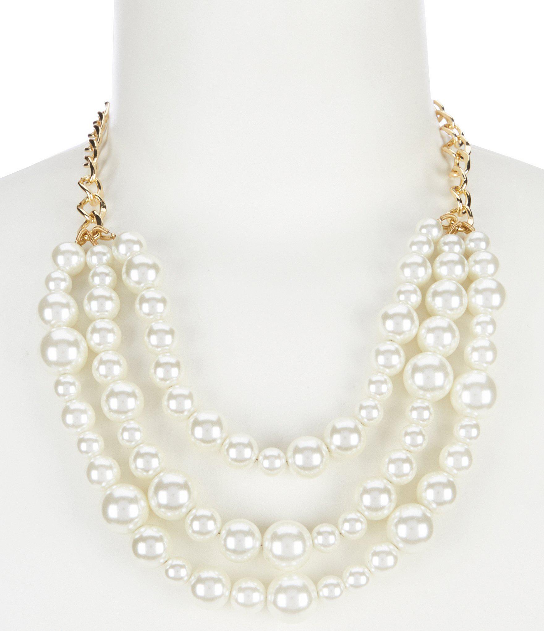 7c22faa05db1c Lyst - Dillard's Tailored Pearl Frontal Necklace in Metallic