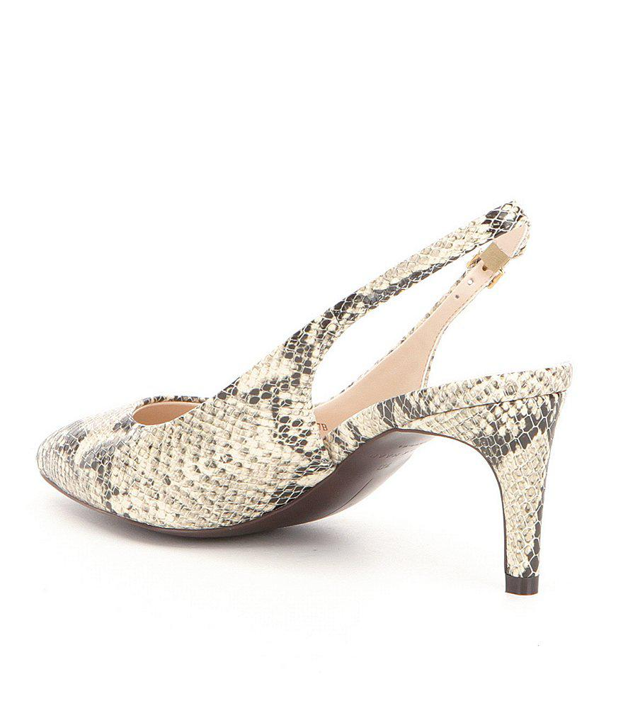 Cole Haan Medora Snake Embossed Leather Pointed Toe Slingback Pumps IBH6sPGx5