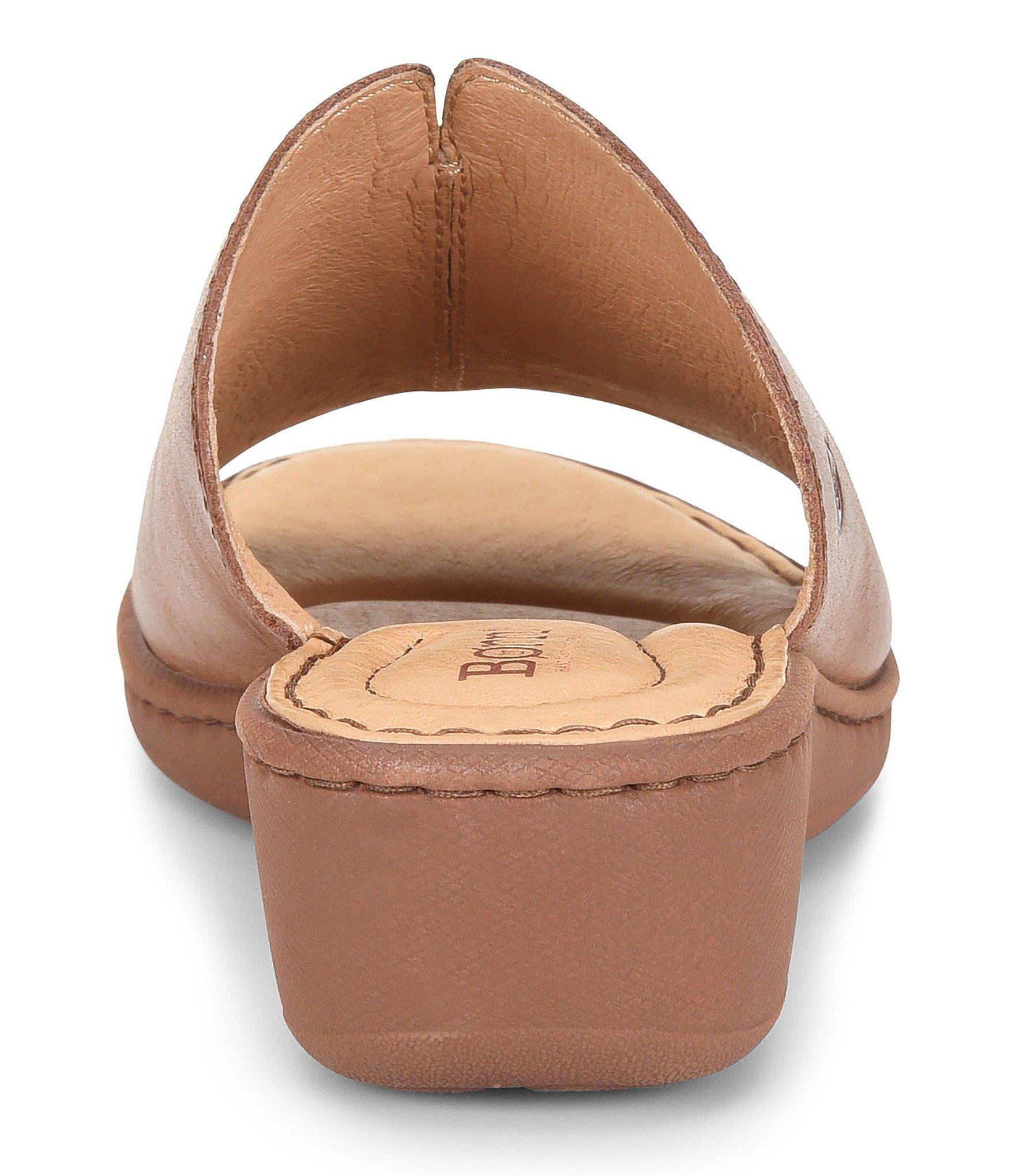 31c13ad6c9b Born - Brown Bernt Leather Wedge Slide Sandals - Lyst. View fullscreen