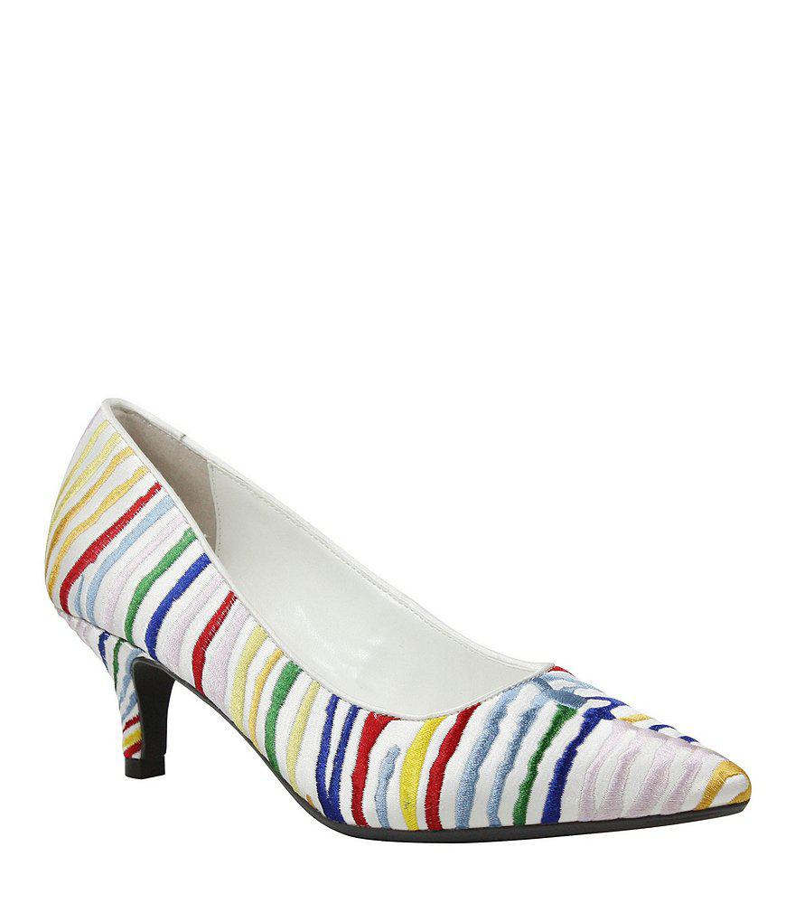 J. Renee Zelaina Multi-Colored Embroidered Striped Kitten Heel Pumps l0b8l45C