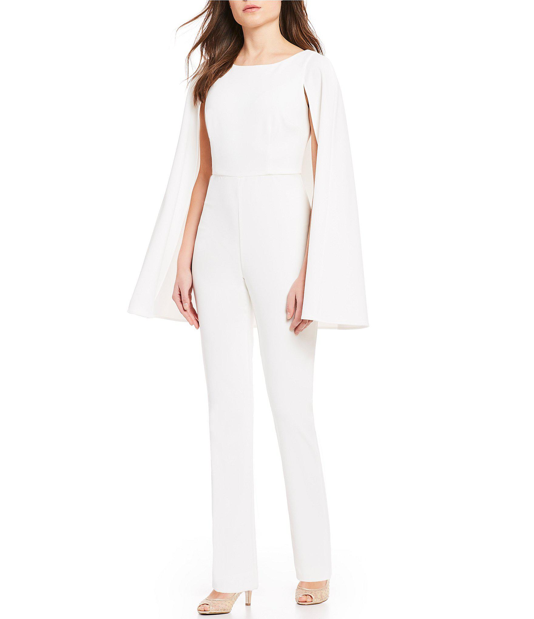 3bf1e0ba5f8 Lyst - Adrianna Papell Crepe Cape Jumpsuit in White