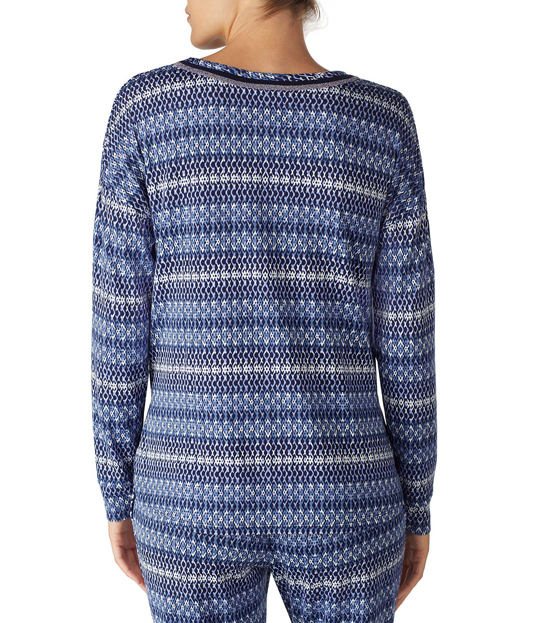 0f28d59ee2 Lyst - Kensie Ombre Stripe Print Jersey Knit Sleep Top in Blue