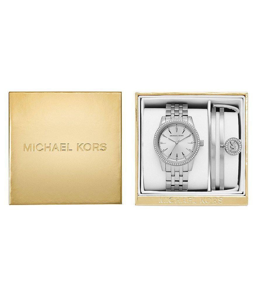 Lyst Michael Kors Ritz Watch Bangle Bracelet Gift Set In Metallic