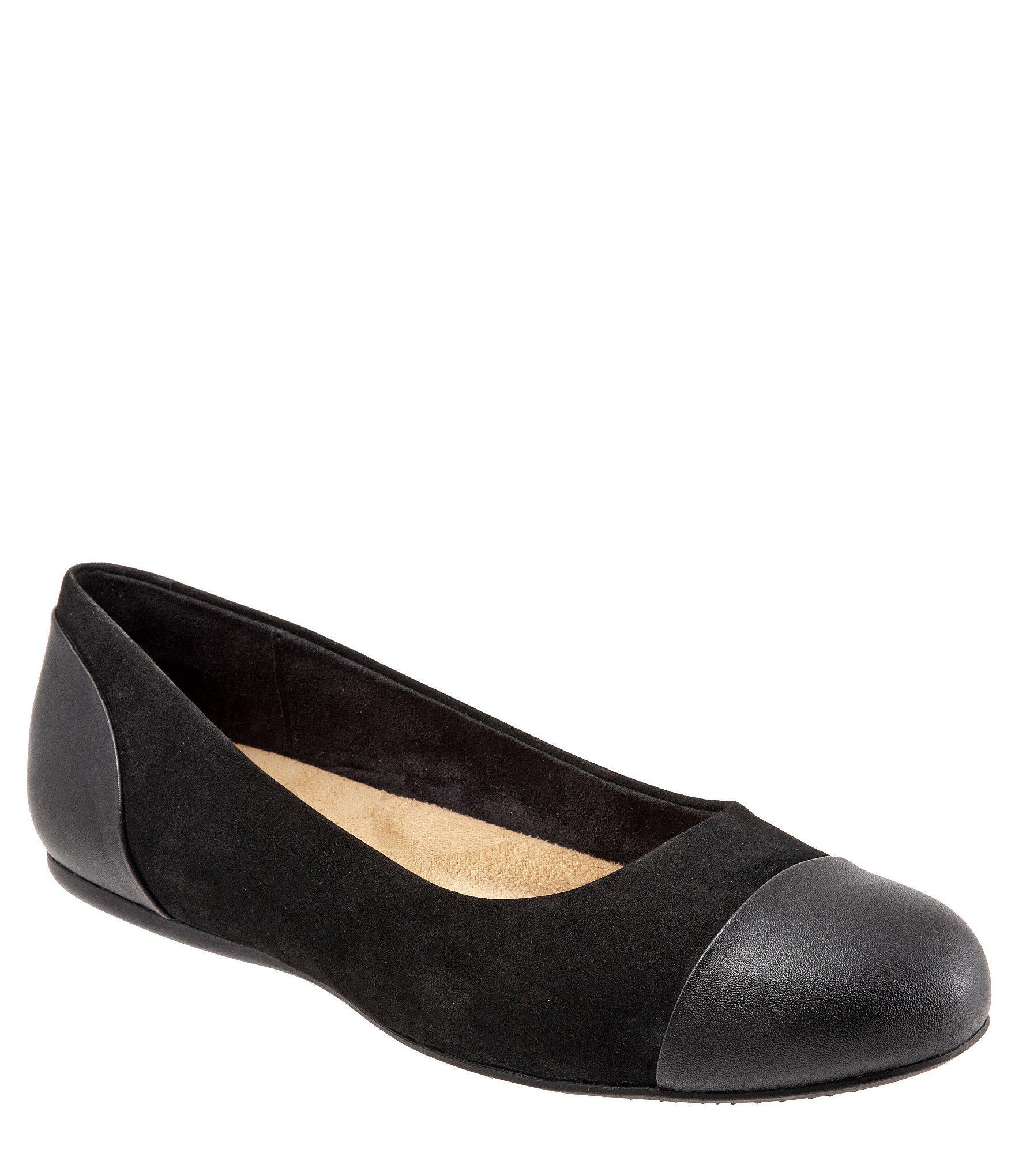 56e8b1f21d0 Lyst - Softwalk® Sonoma Cap Toe Nubuck Ballet Flats in Black