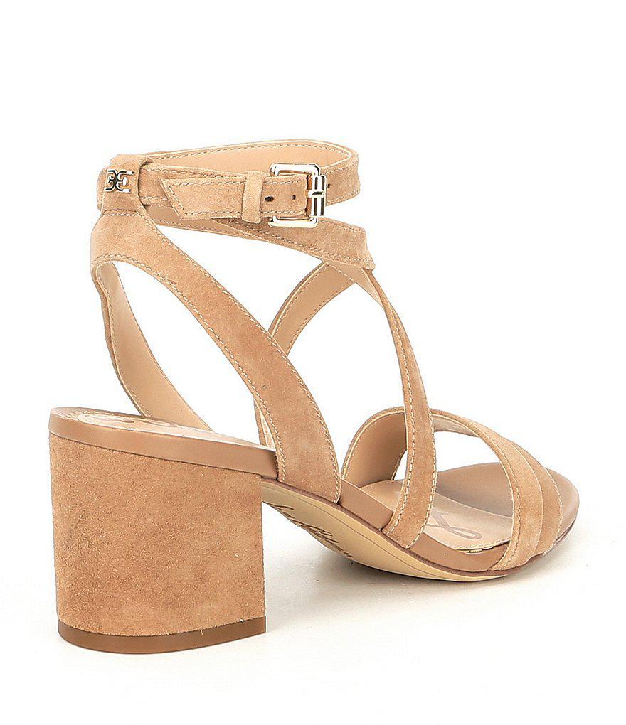 2026157e67d Lyst - Sam Edelman Sammy Suede Ankle Strap Block Heel Dress Sandals