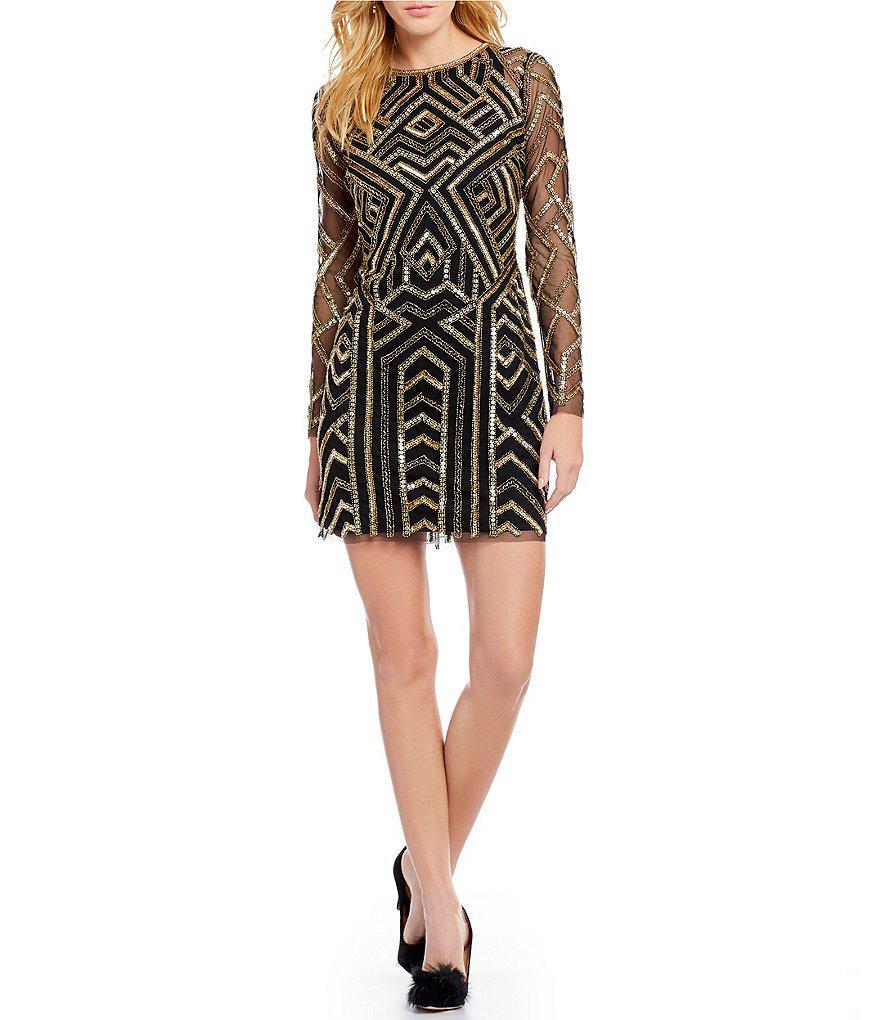 eb61d9cfd04 Gianni Bini Kim Geometric Sequin Dress in Black - Lyst