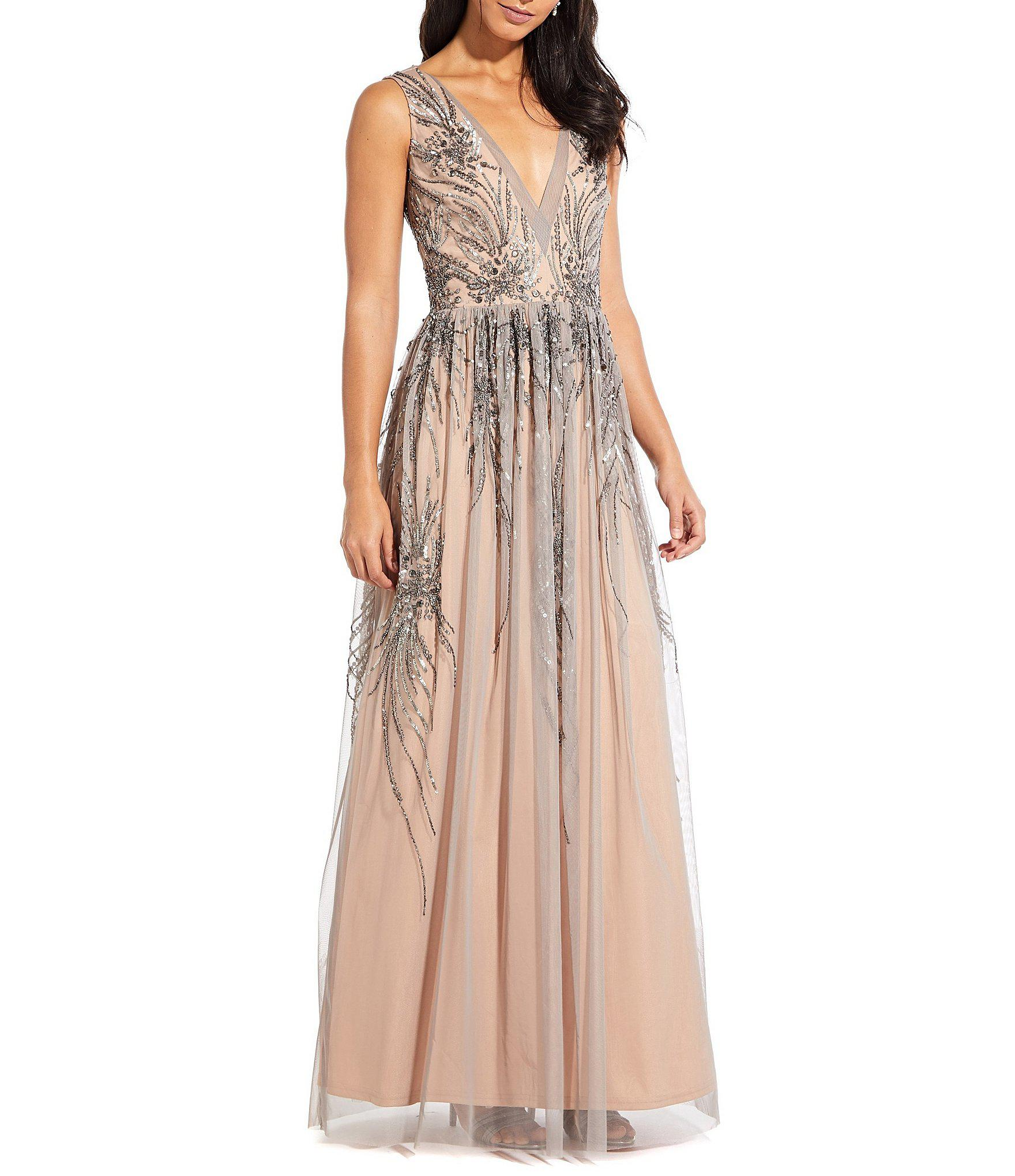 Lyst Adrianna Papell Beaded Mesh Plunge V Neck A Line Gown