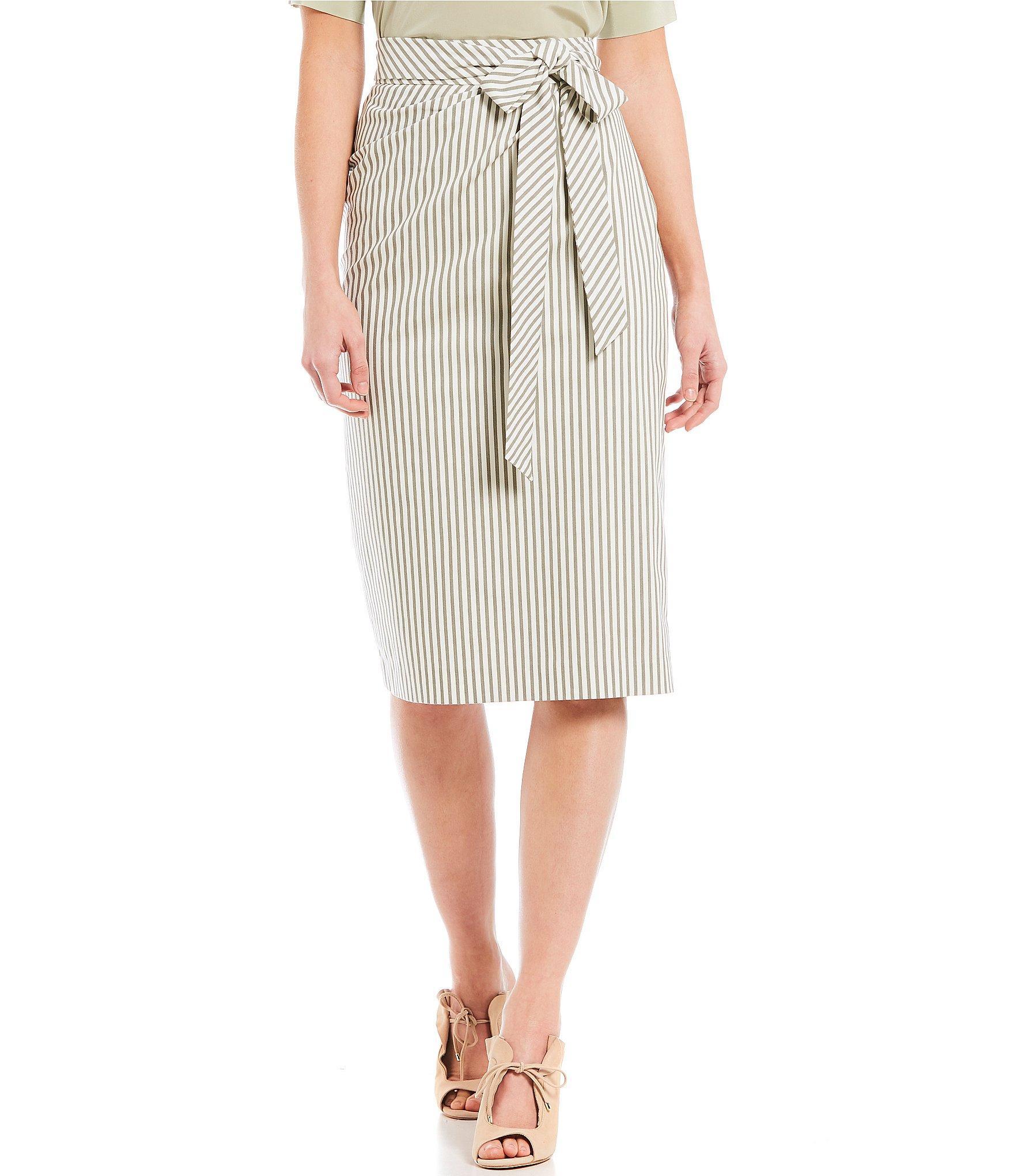 3f0e74427f Antonio Melani. Women's White Parma Striped Tie Waist Midi Length Pencil  Skirt