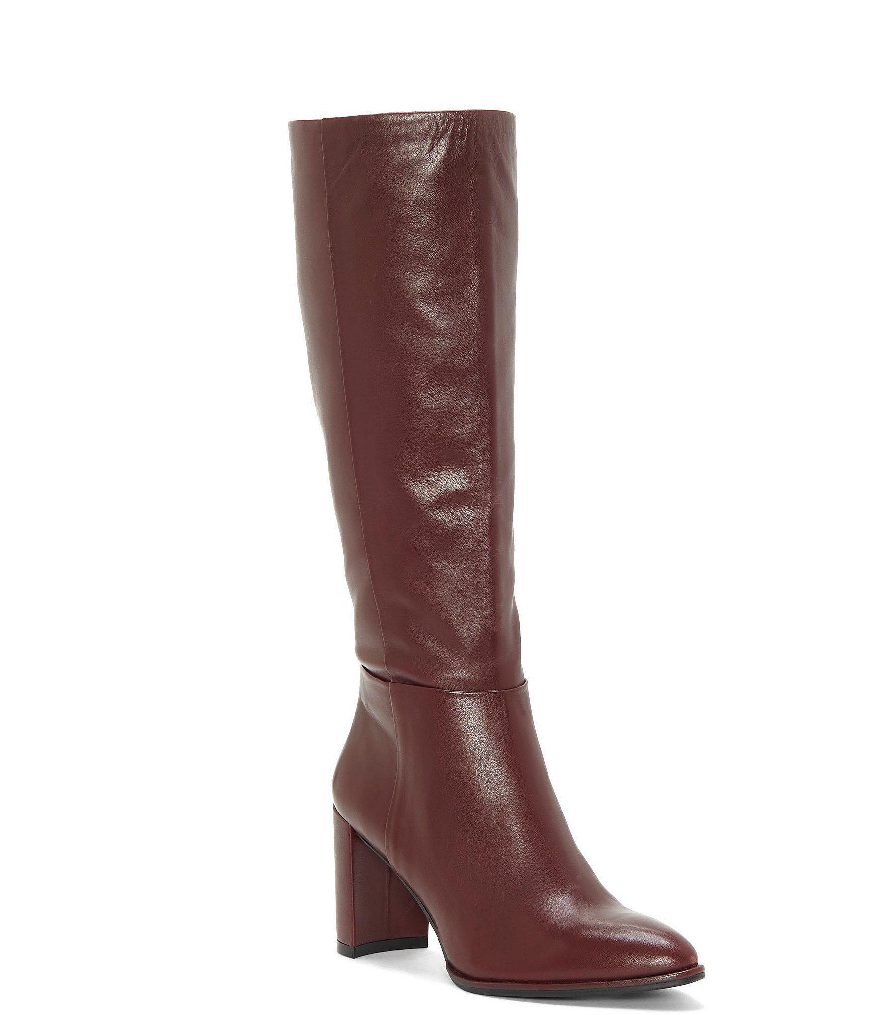 42cd165c2a9 Enzo Angiolini Brown Wenda Tall Leather Block Heel Boots