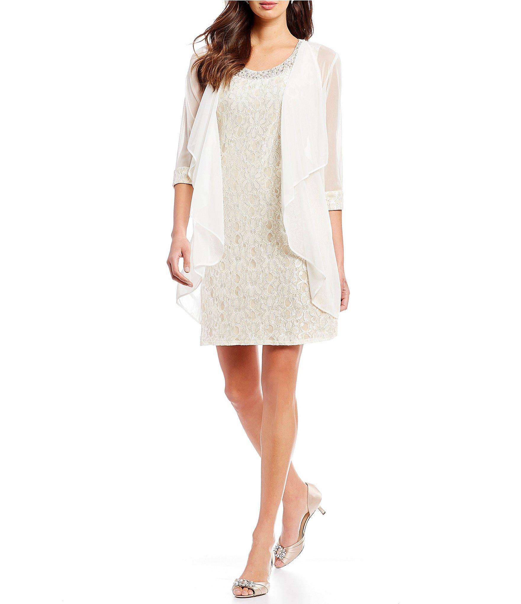 77a0c75edb4a1 R   M Richards. Women s Pink Petite Beaded-neck Lace 2-piece Glitter Jacket  Dress