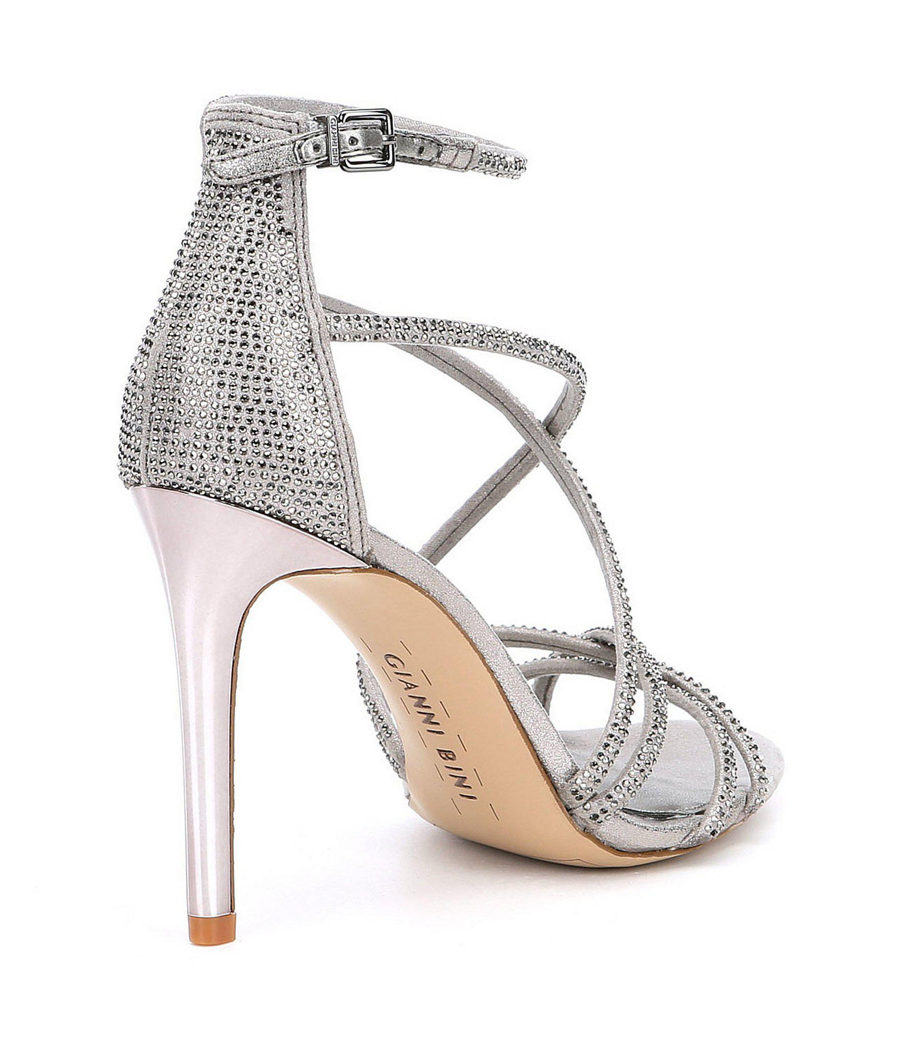 2e401af05b6 Gianni Bini Gray Anselle Strappy Jeweled Dress Sandals