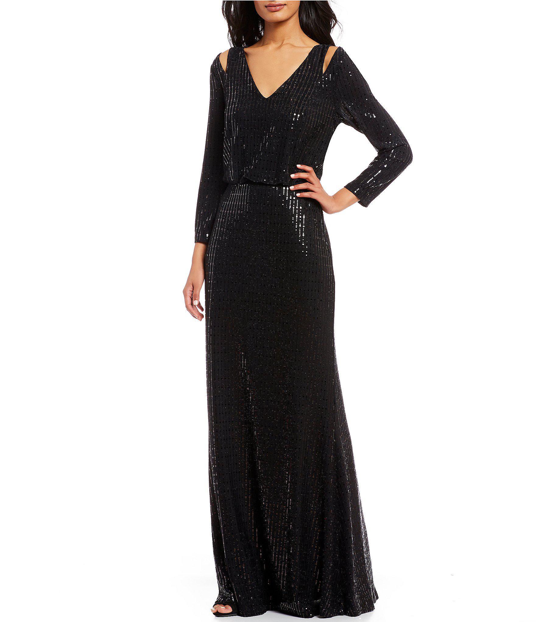1c54150a1fb3 Calvin Klein V-neck 3/4 Sleeve Sequin Blouson Gown in Black - Lyst