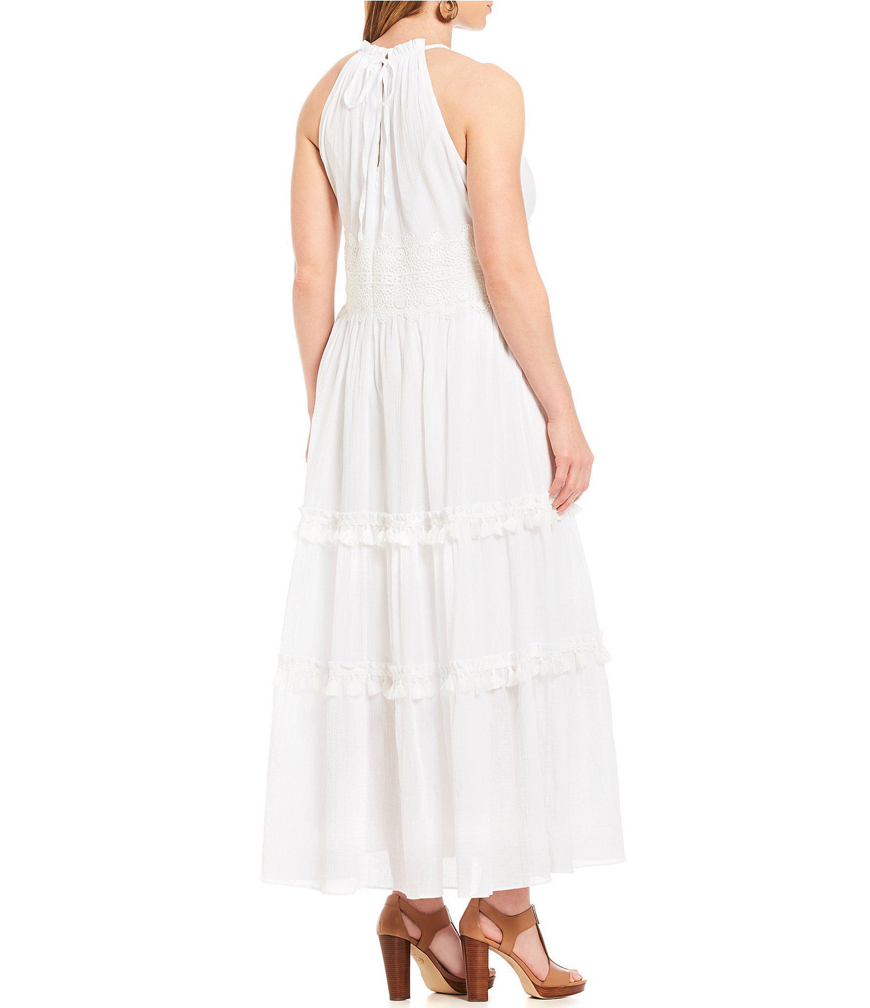 Eliza J Plus Size Lace Waist Halter Maxi Dress in White - Lyst