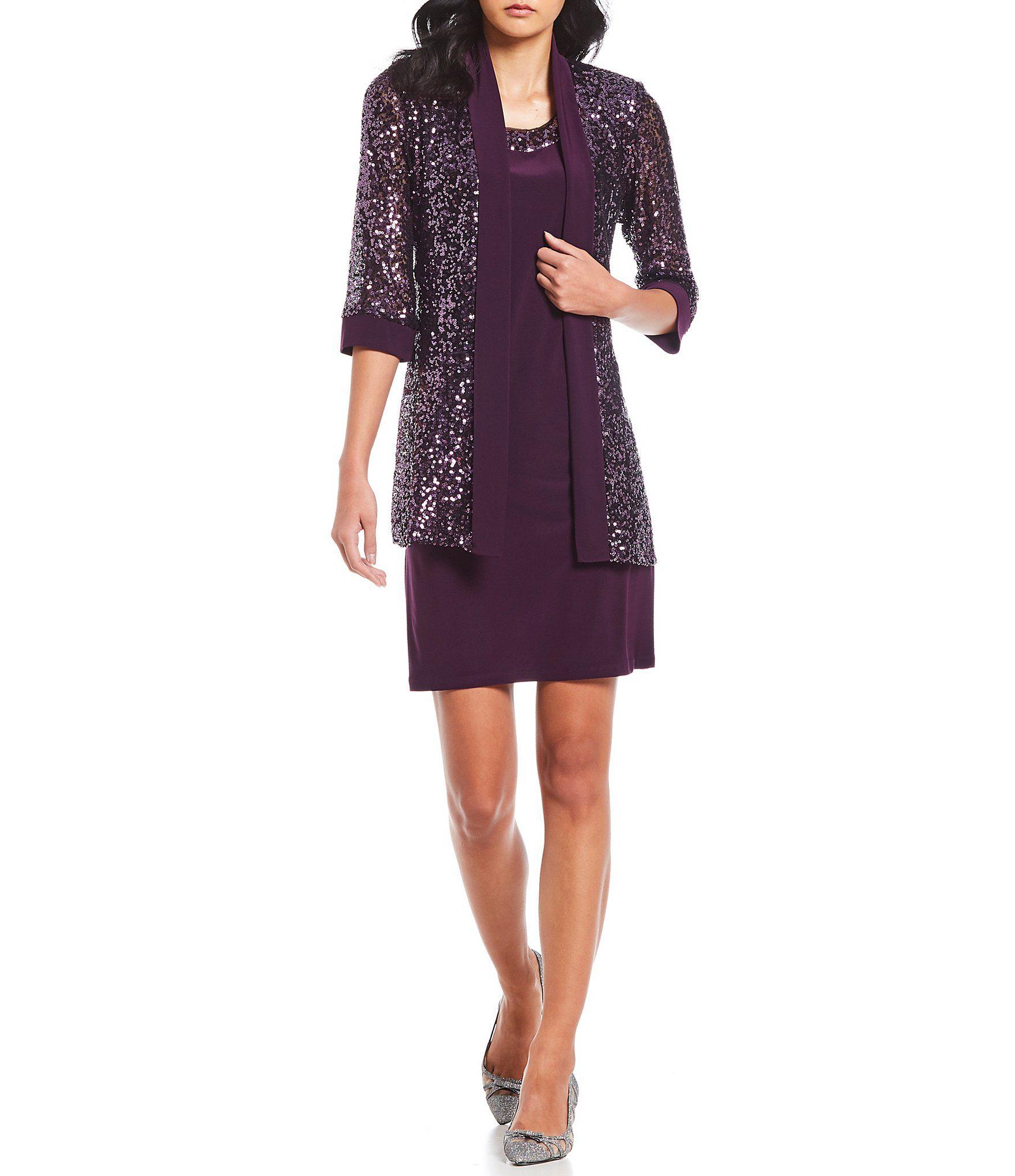 704e898de10b1 R   M Richards. Women s Purple Petite Size 2-piece Embellished Sequin Jacket  Dress