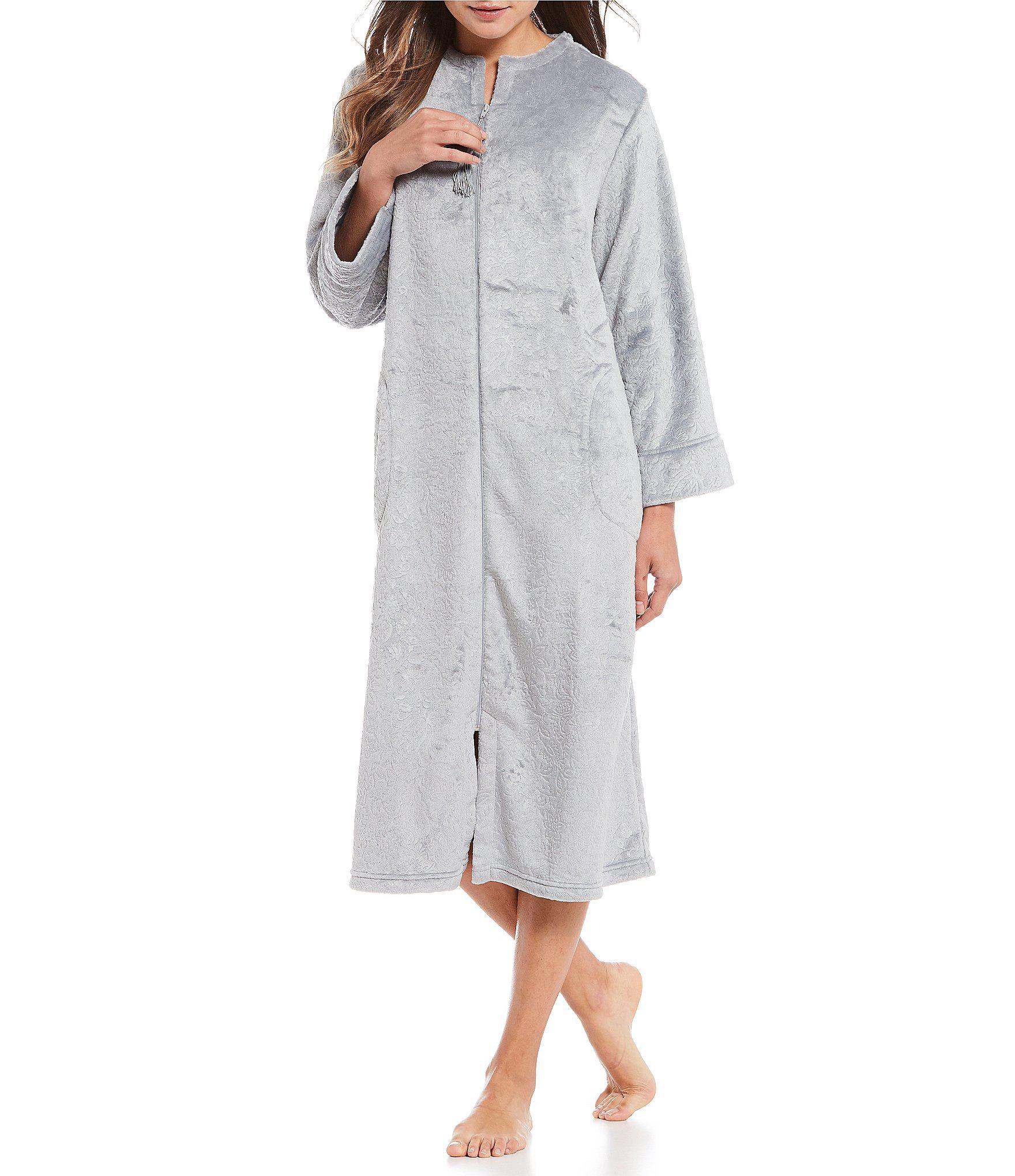 Lyst - Miss Elaine Embossed French Fleece Zip-front Long Robe in Gray 2b6515039