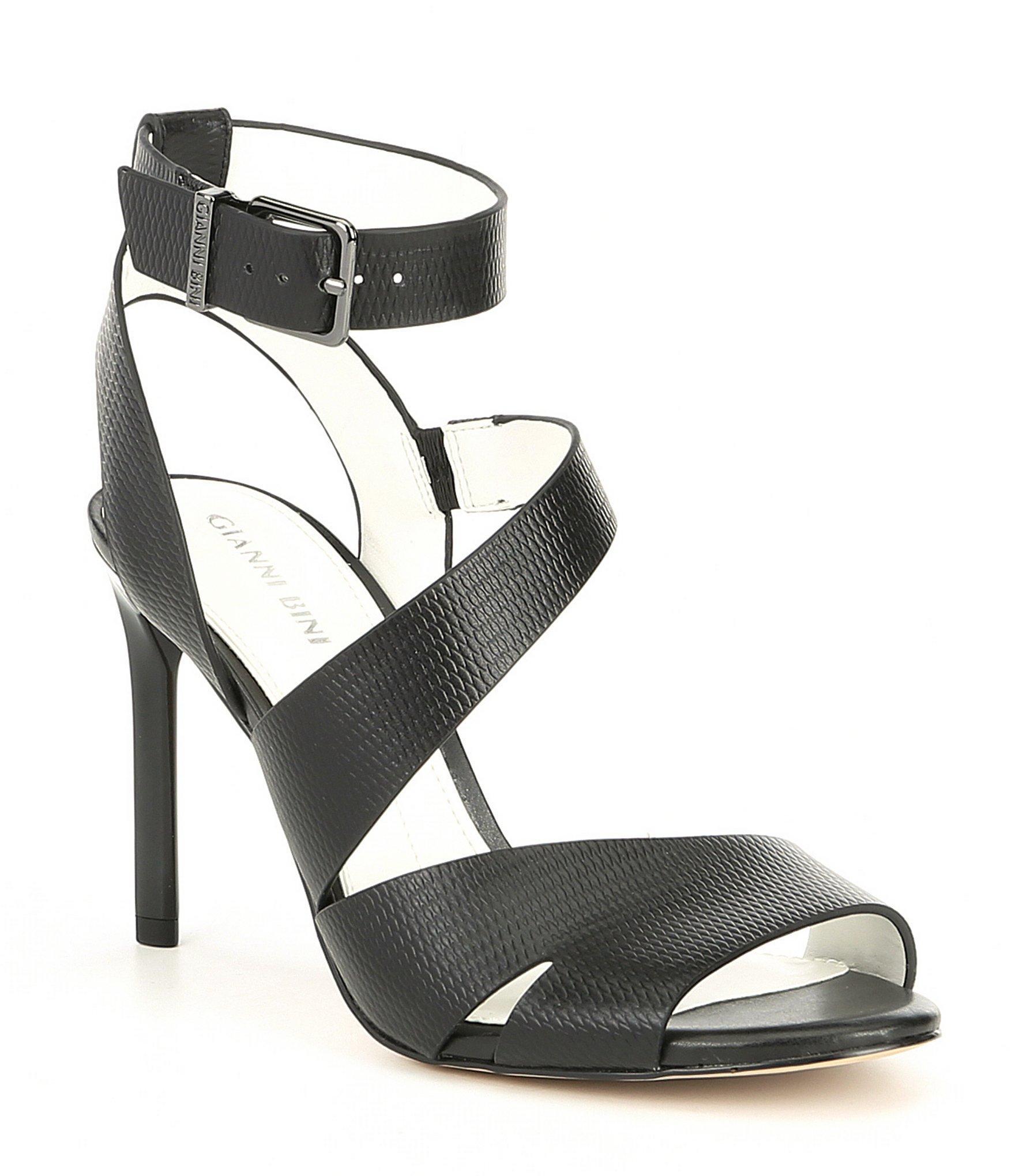 fddabb29c4c Lyst - Gianni Bini Adeena Asymmetrical Stamped Leather Dress Sandals ...