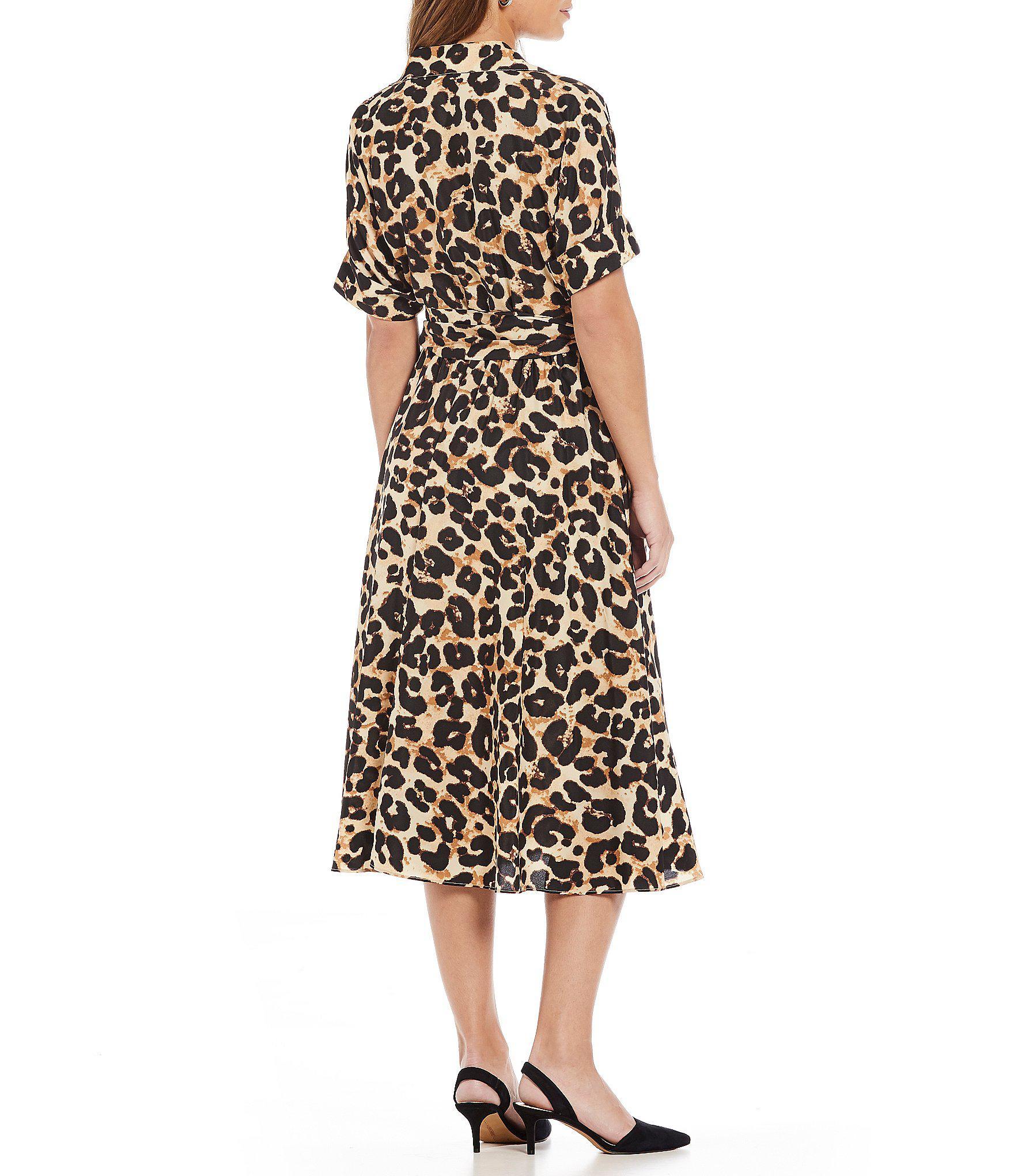 Eliza J Animal Print Midi Length Shirt Dress In Black Lyst