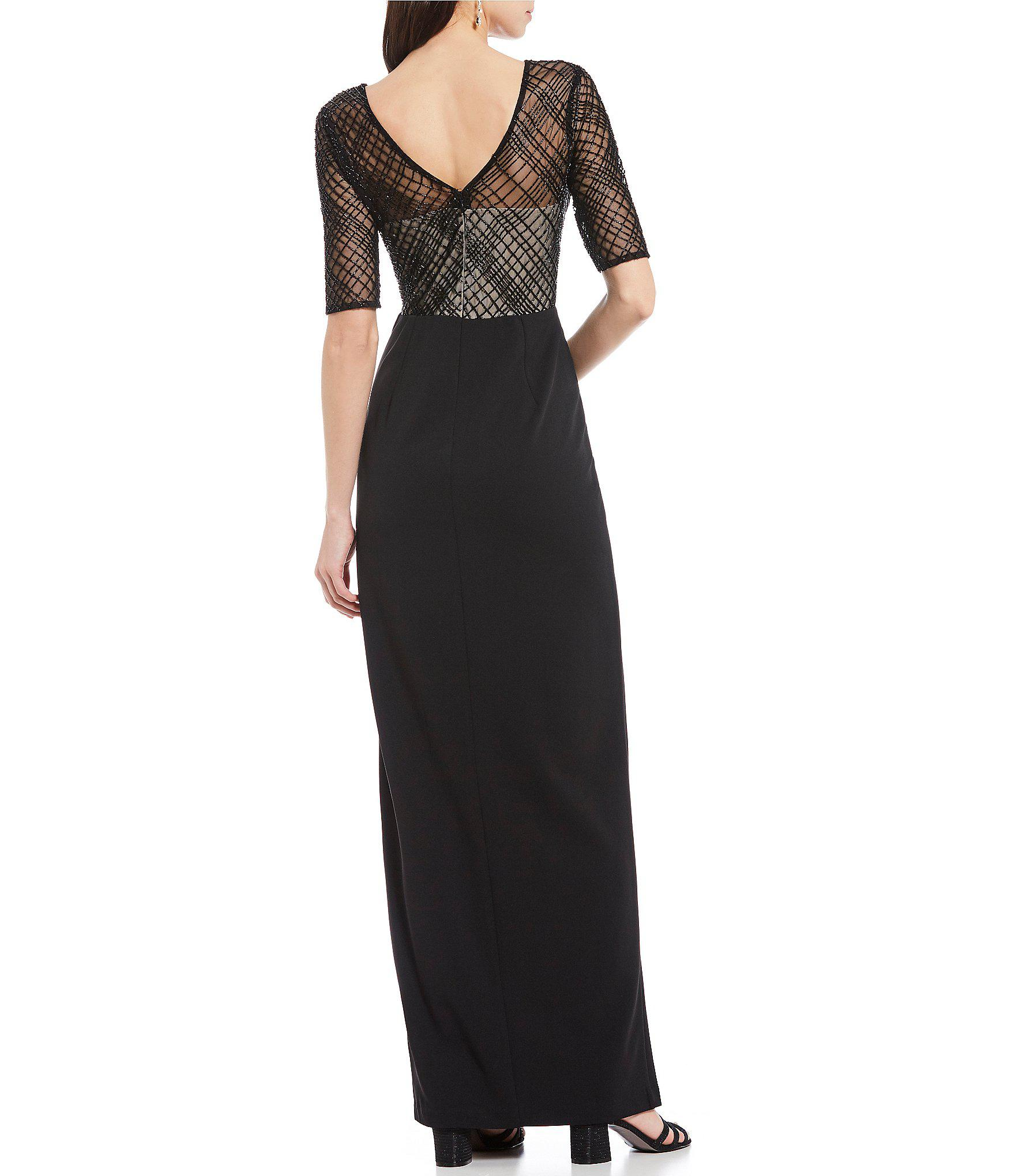 d7a26aad97f Adrianna Papell - Black Illusion Beaded Bodice Ruffle Slit Front Crepe Gown  - Lyst. View fullscreen
