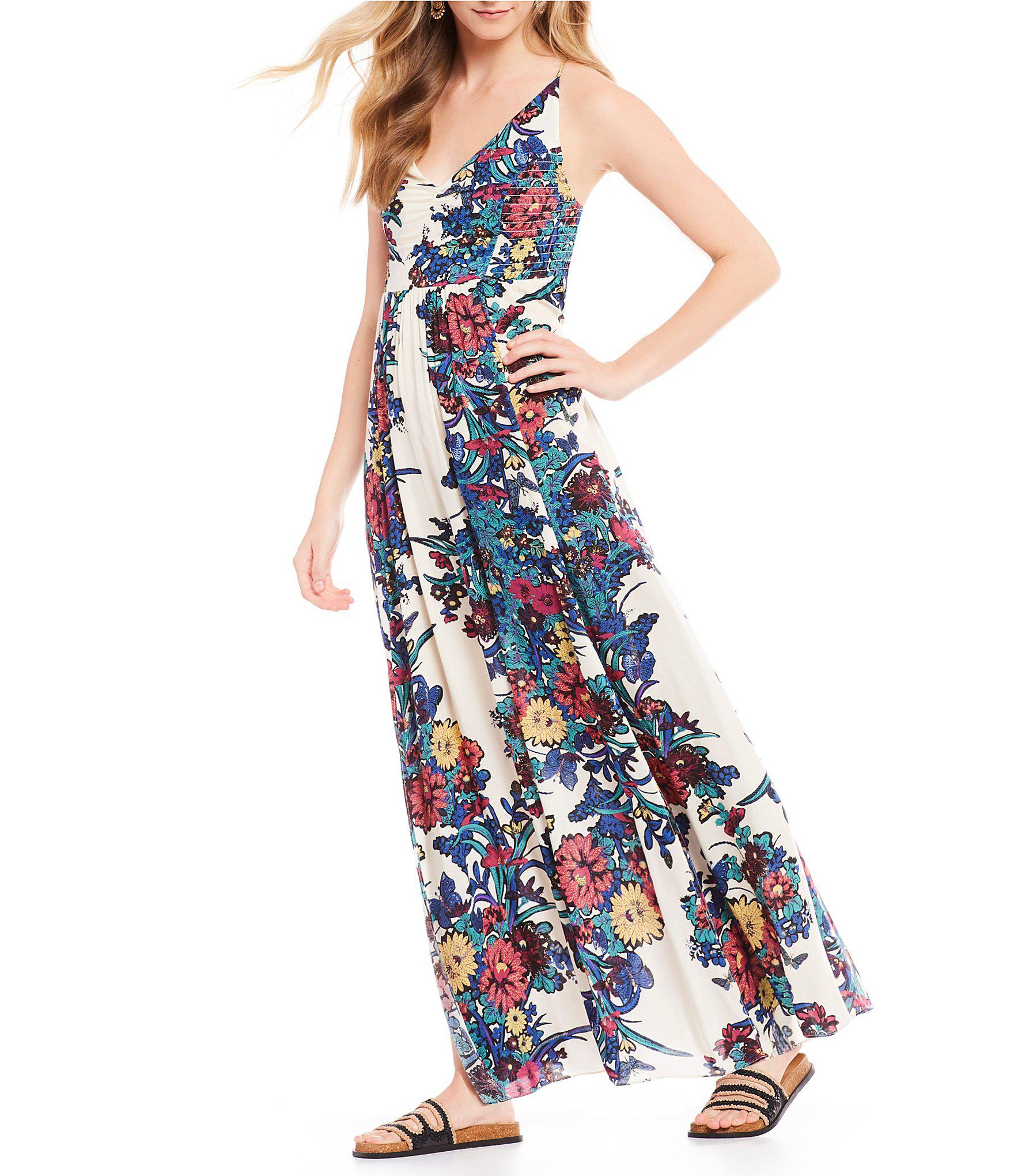c733be6416f Free People Through The Vine Floral Print Maxi Dress in Blue - Lyst