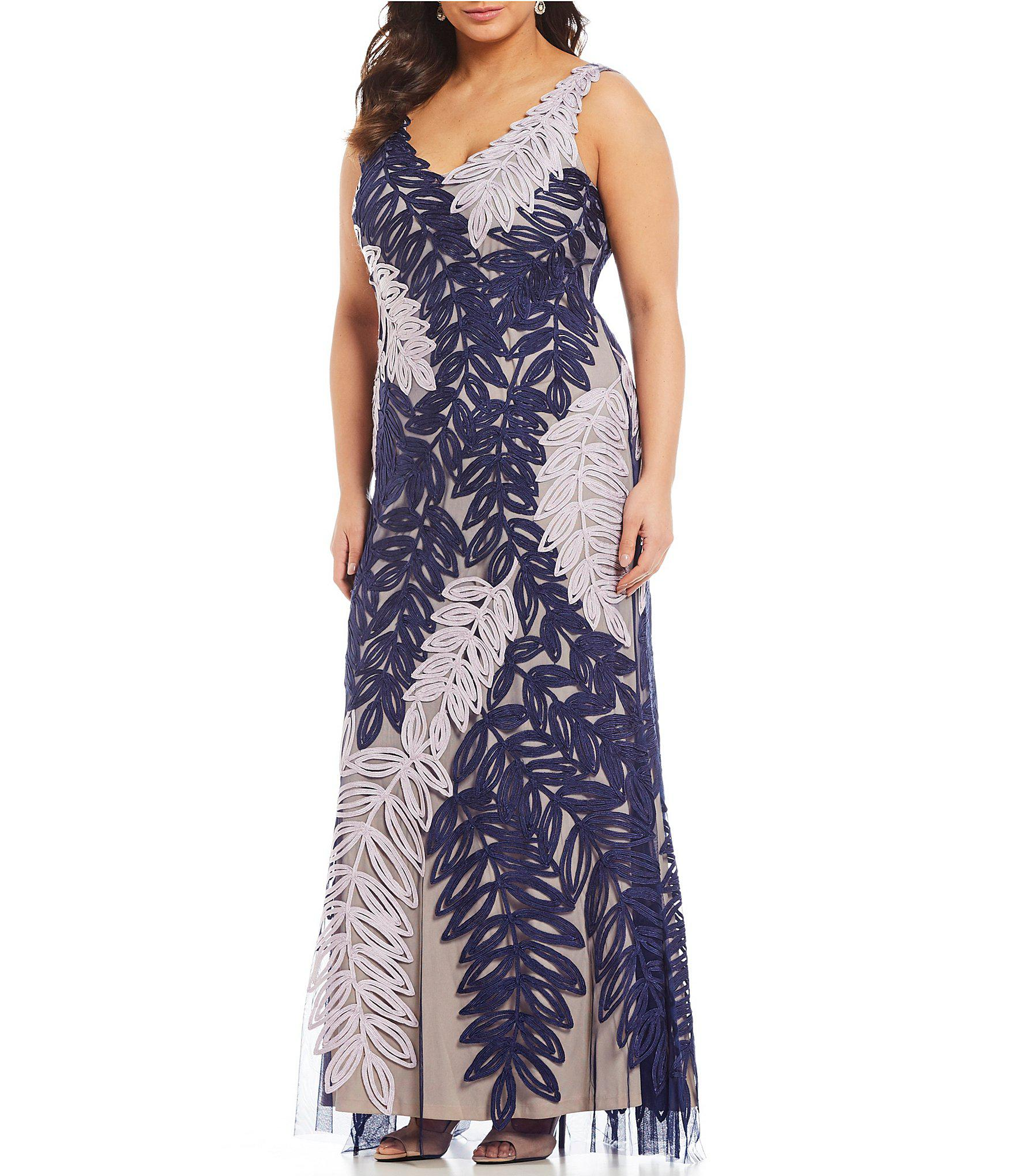 f444364f1a8 Lyst - JS Collections Plus Size V-neck Soutache Gown in Blue - Save 69%