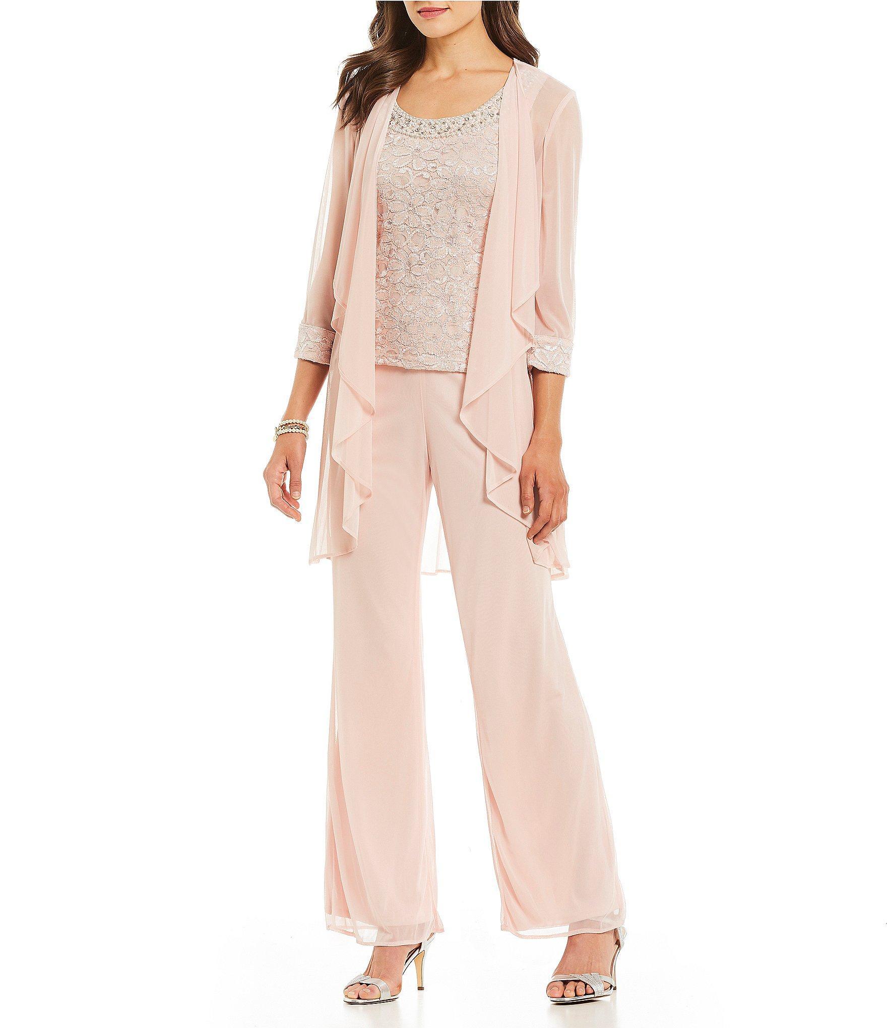 2038b123ac49 R & M Richards 3-piece Glitter Lace Flyaway Pant Set in Pink - Lyst