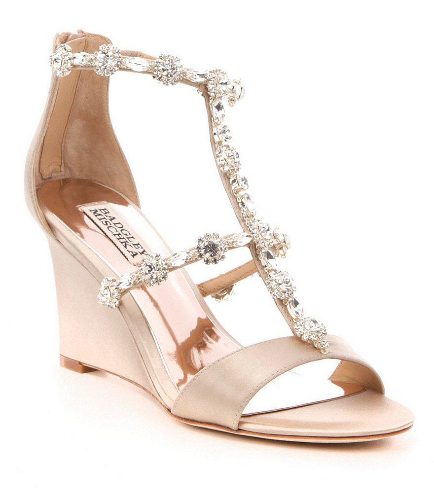 10c96a02b2a Lyst - Badgley Mischka Jeweled Satin Tabby Wedge Sandals in Natural