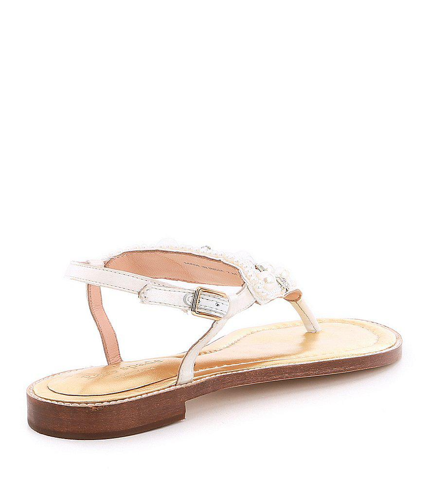 Sama Satin Pearl and Jewel Embellishment Ankle Strap Thong Sandals 9chfygt