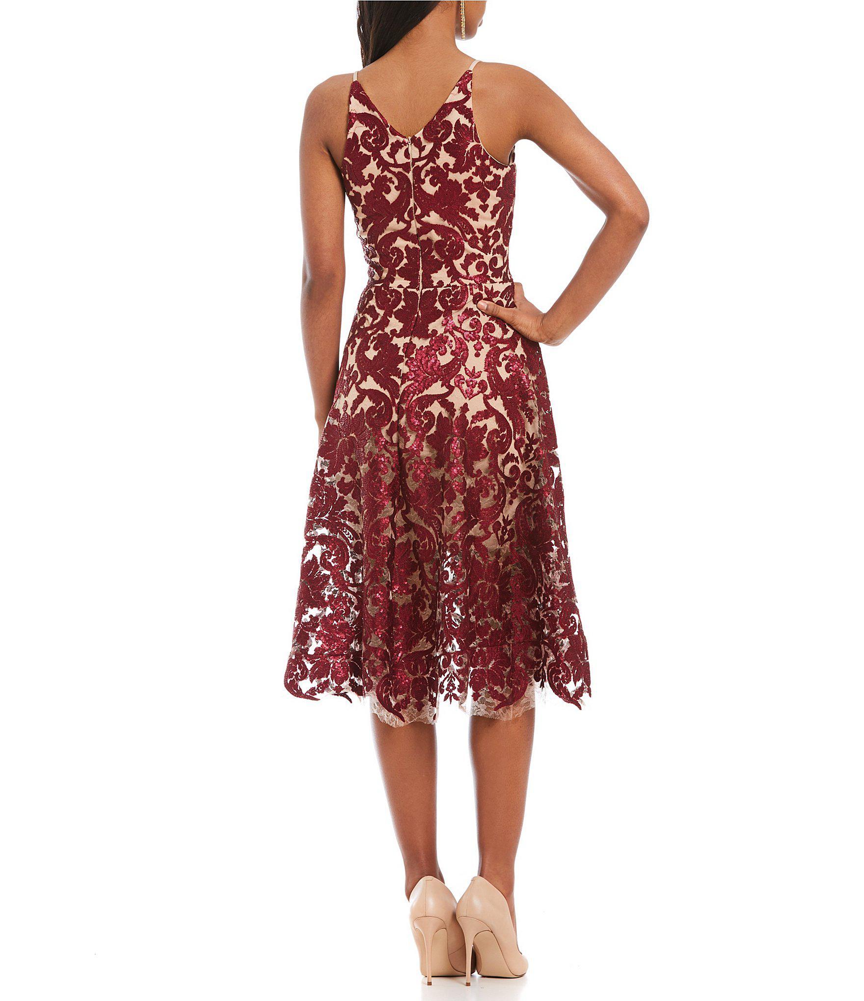 07ebae8b13d Lyst - Dress the Population Blair Deep V-neck Sequin Lace Midi Dress ...
