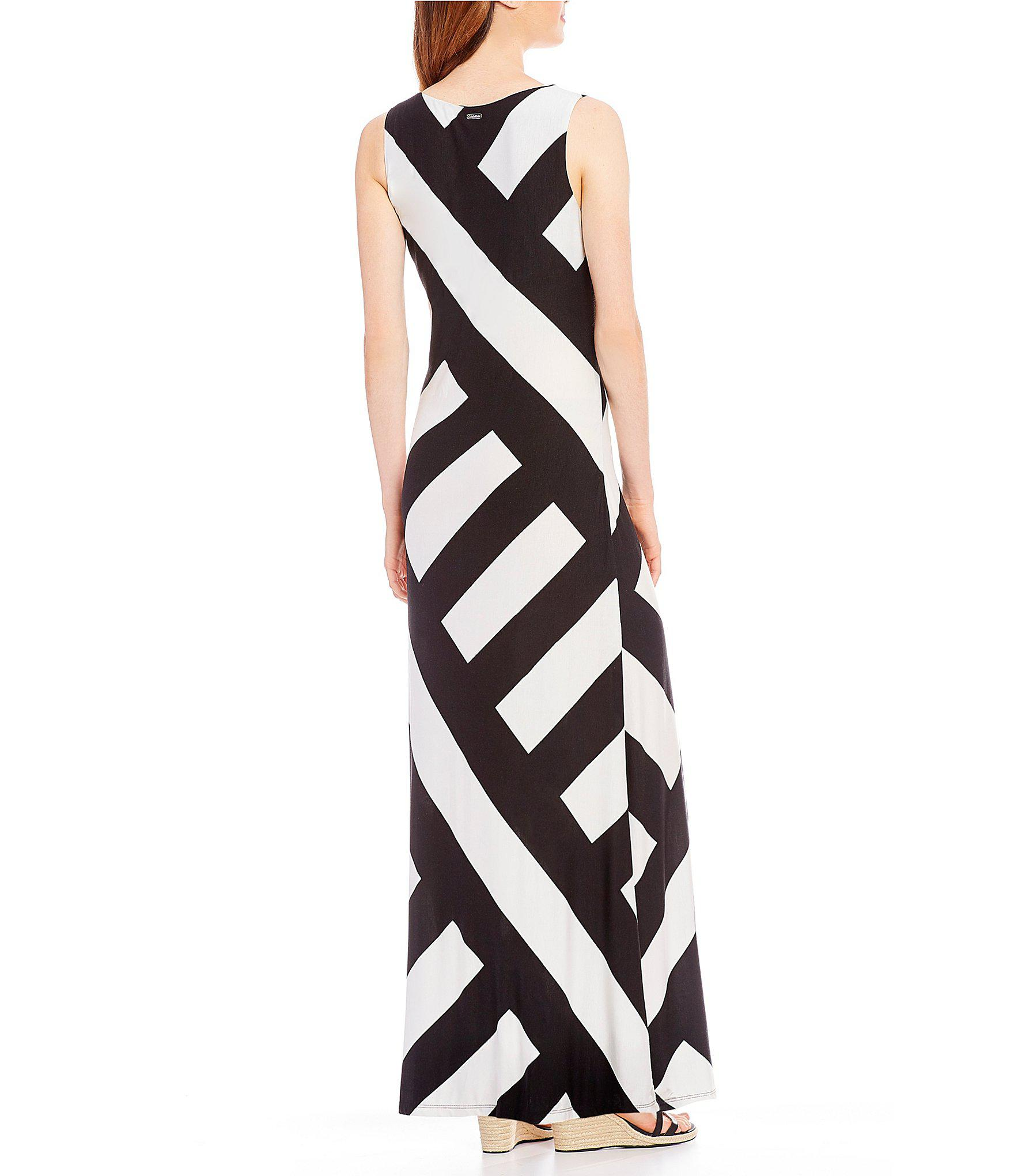 e45506b2f5 Calvin Klein Geometric Patch Stripe Knit Jersey V-neck Maxi Dress in ...