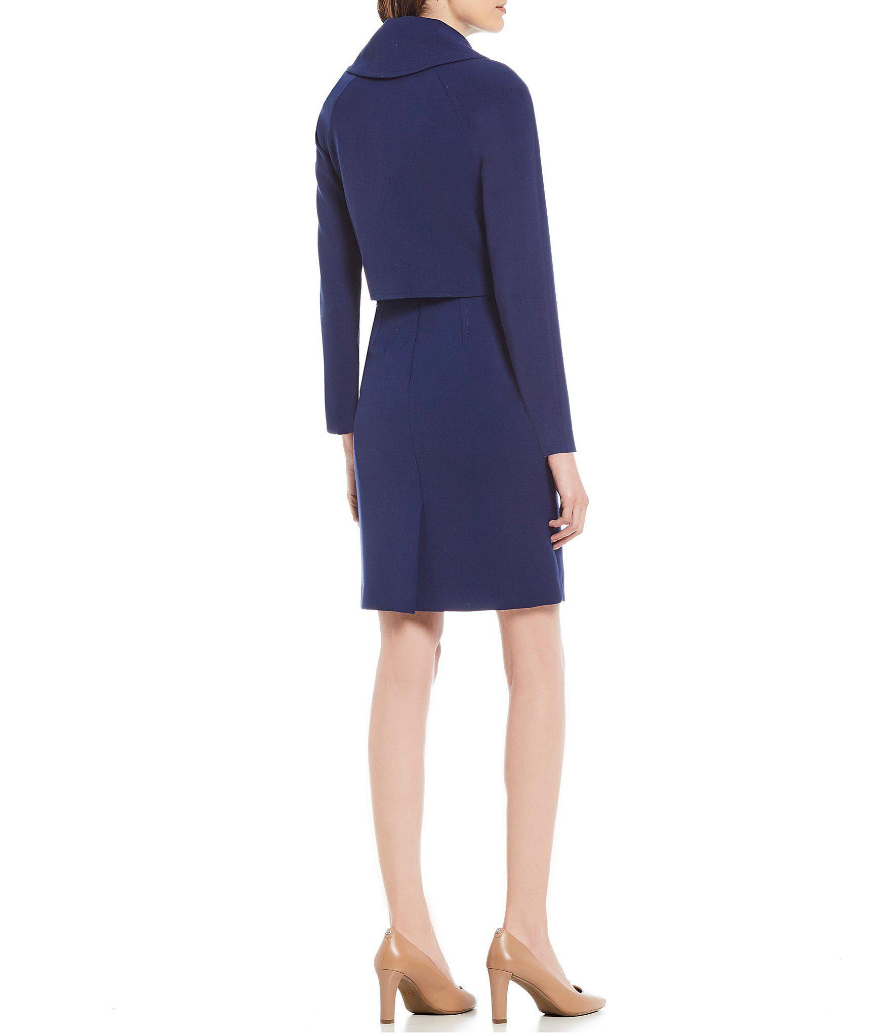 19cb643b8391 Tahari - Blue Petite Size Fold Over Jacket Dress Suit - Lyst. View  fullscreen